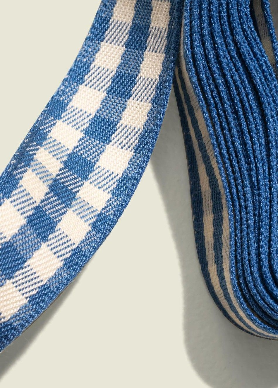 Close up of gingham ribbon