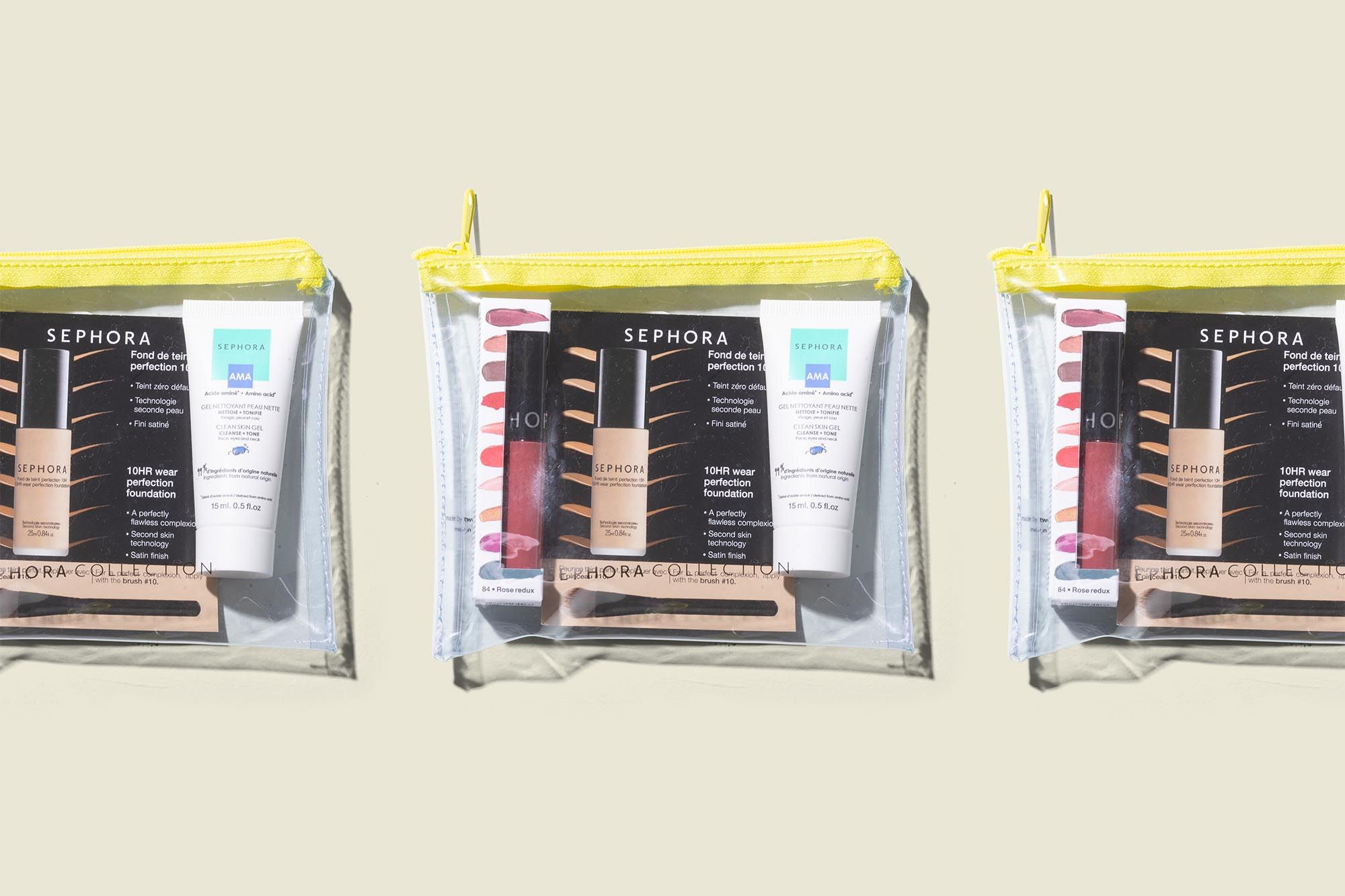 Clear zip pouches with beauty products