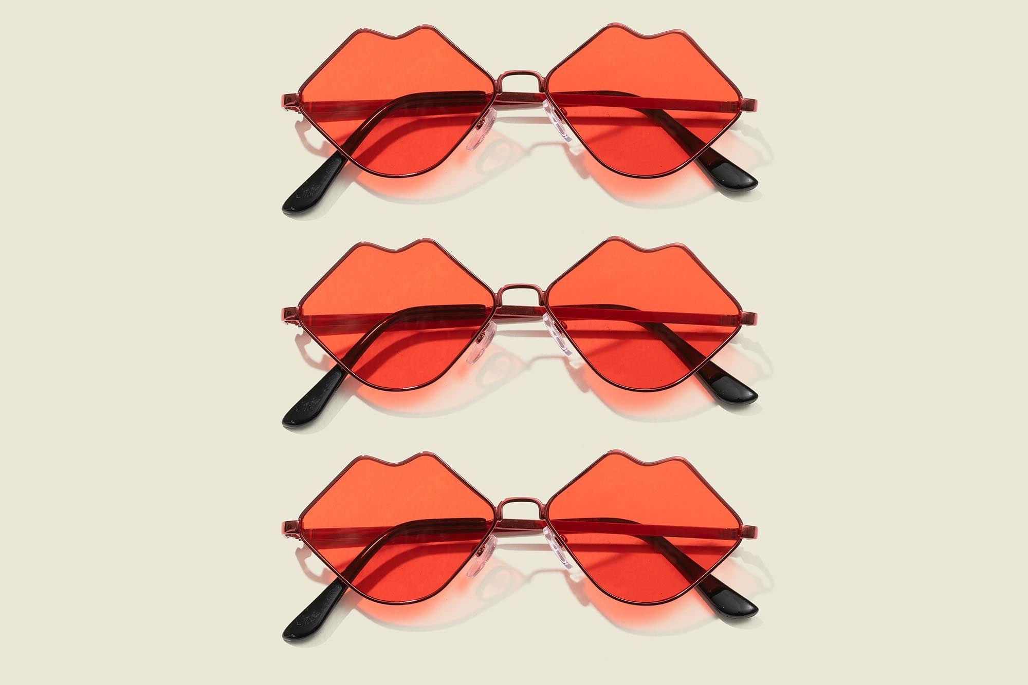 Set of lip shaped sunglasses