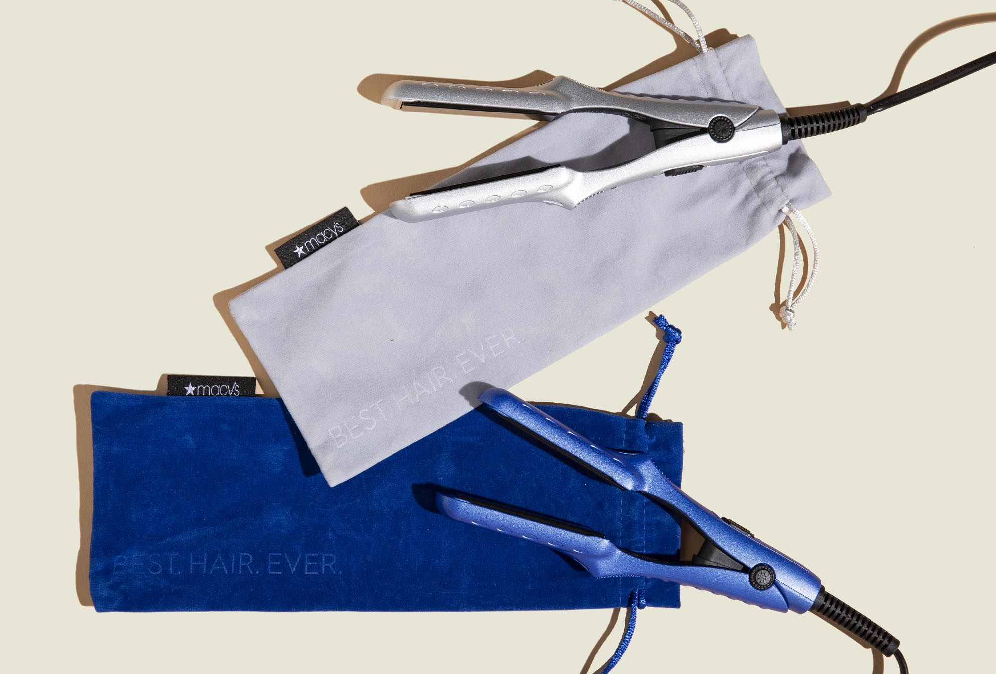 Drawstring pouch with flat iron