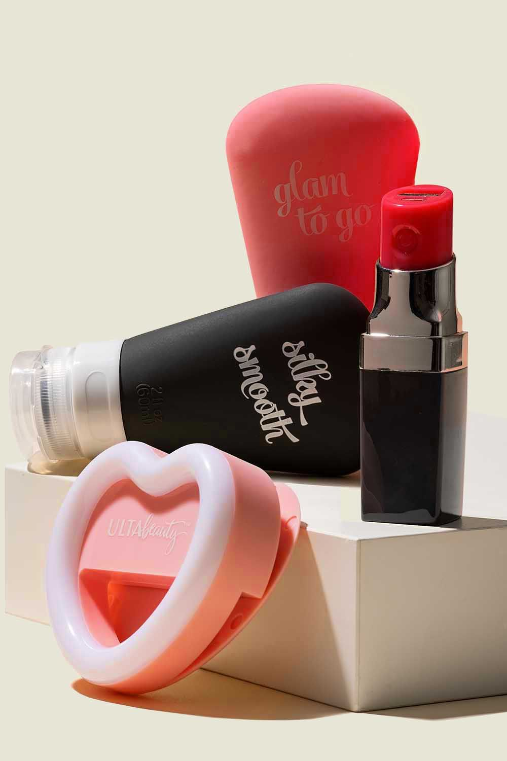 Custom packaging with usb lipstick, ring light and silicone travel bottles