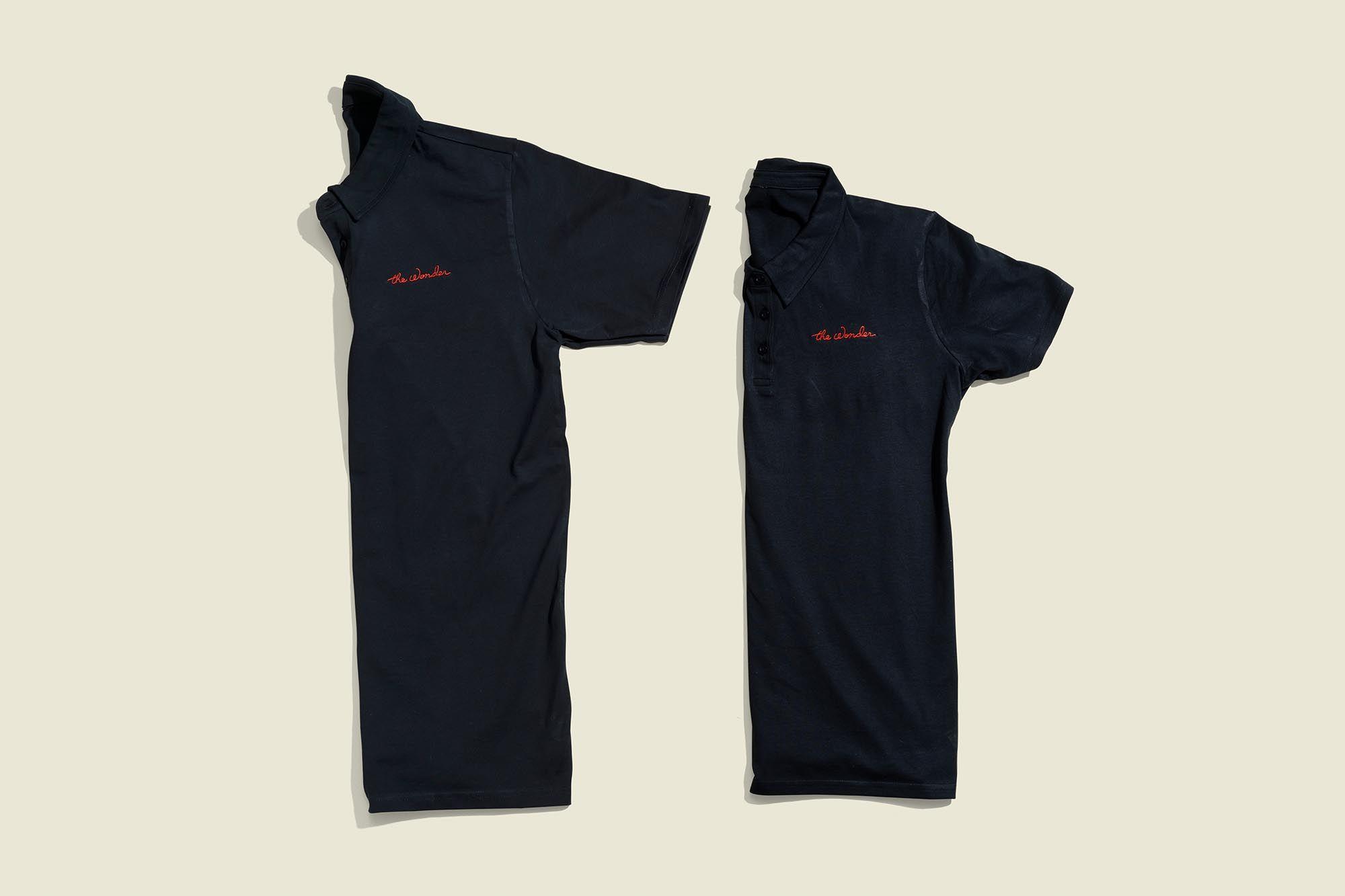 Two button down black shirts