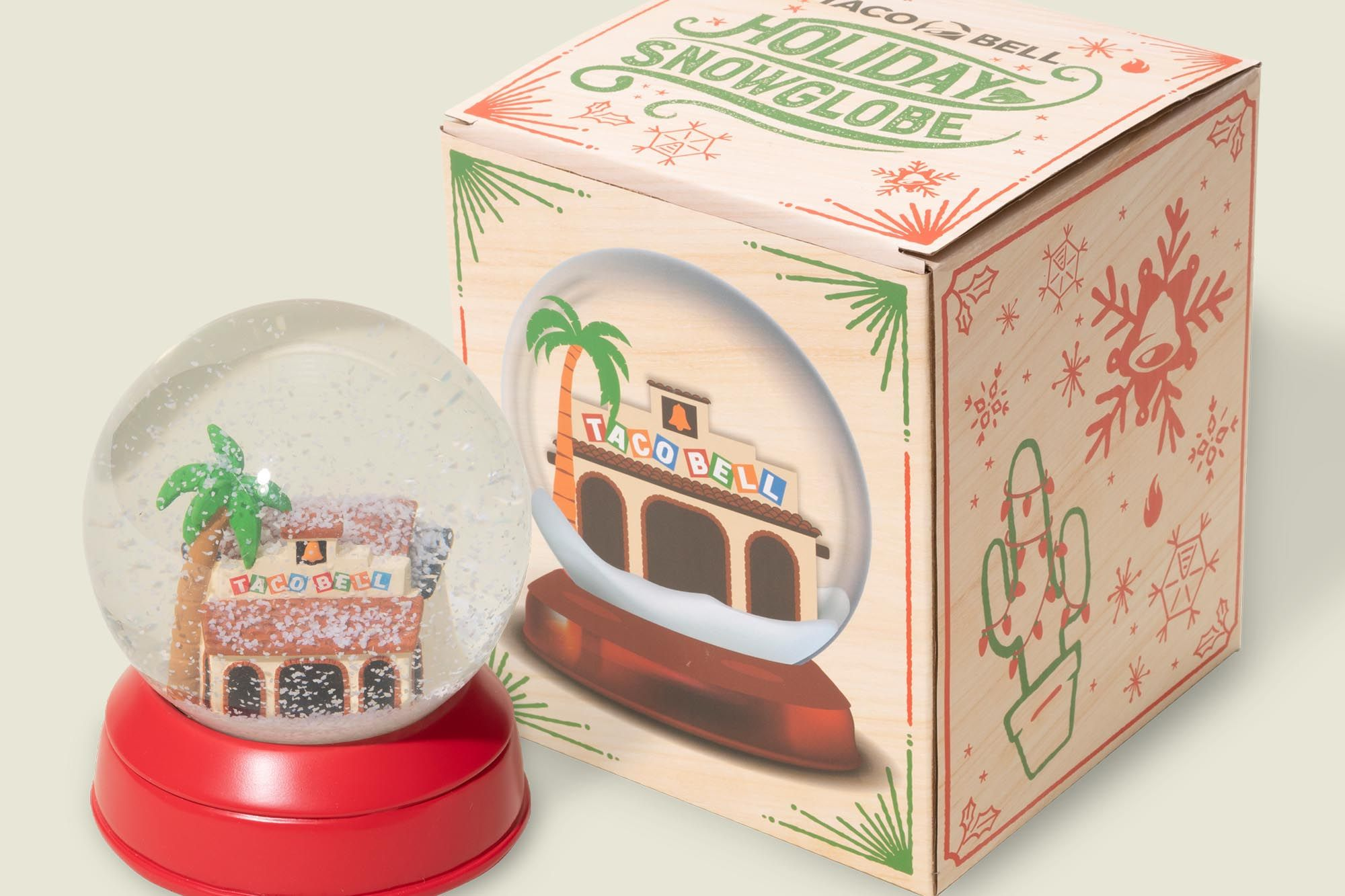 Custom packaging with snow globe