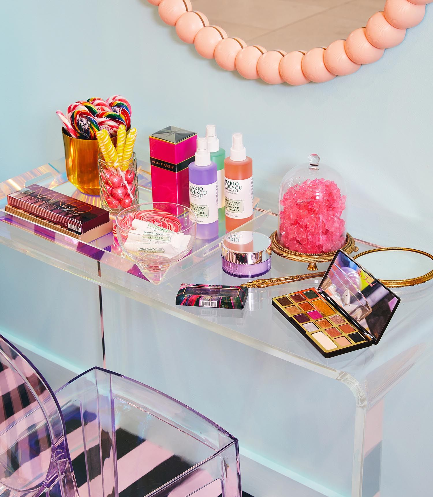 Custom shelving styled with product and accessories