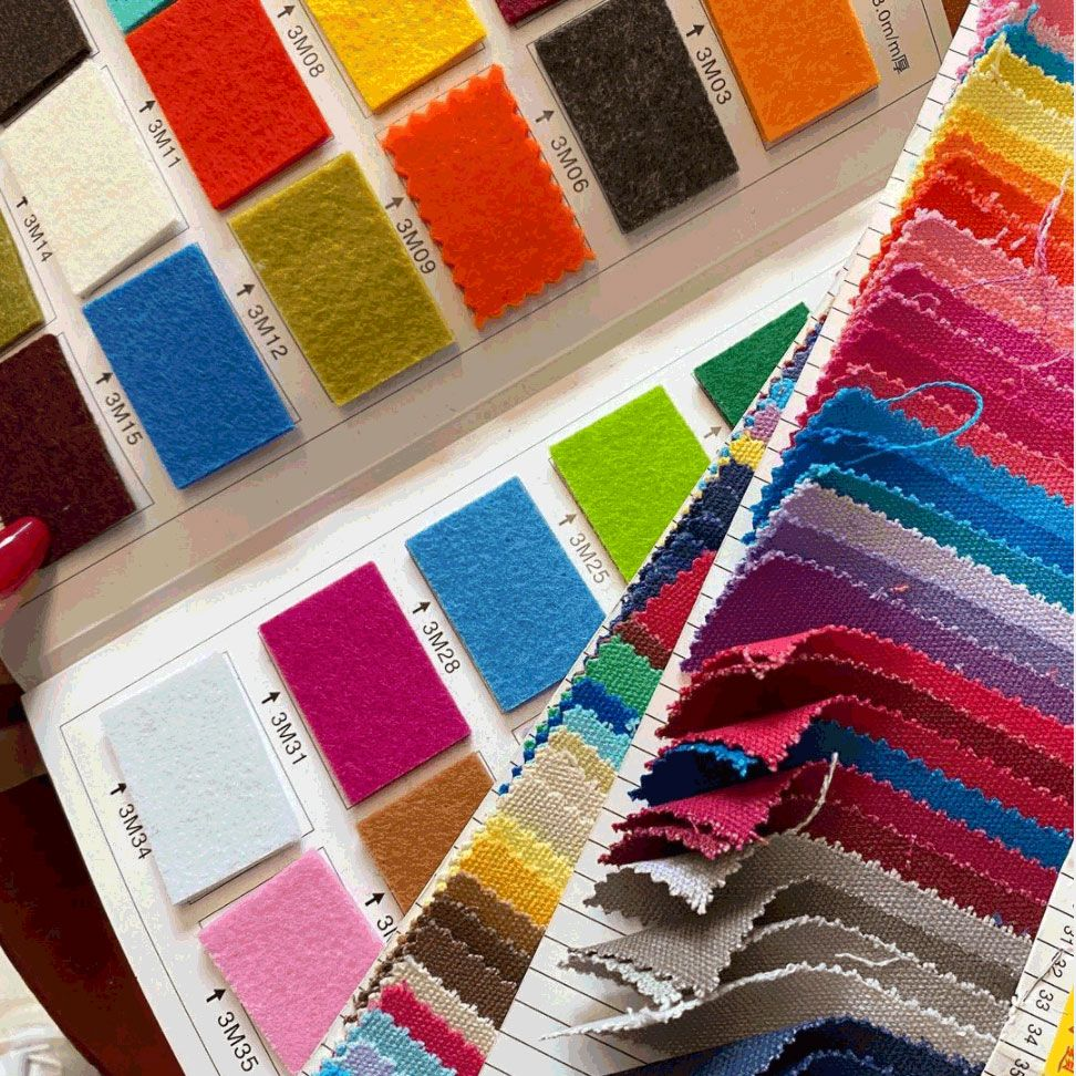 detail of stacks of fabric swatches