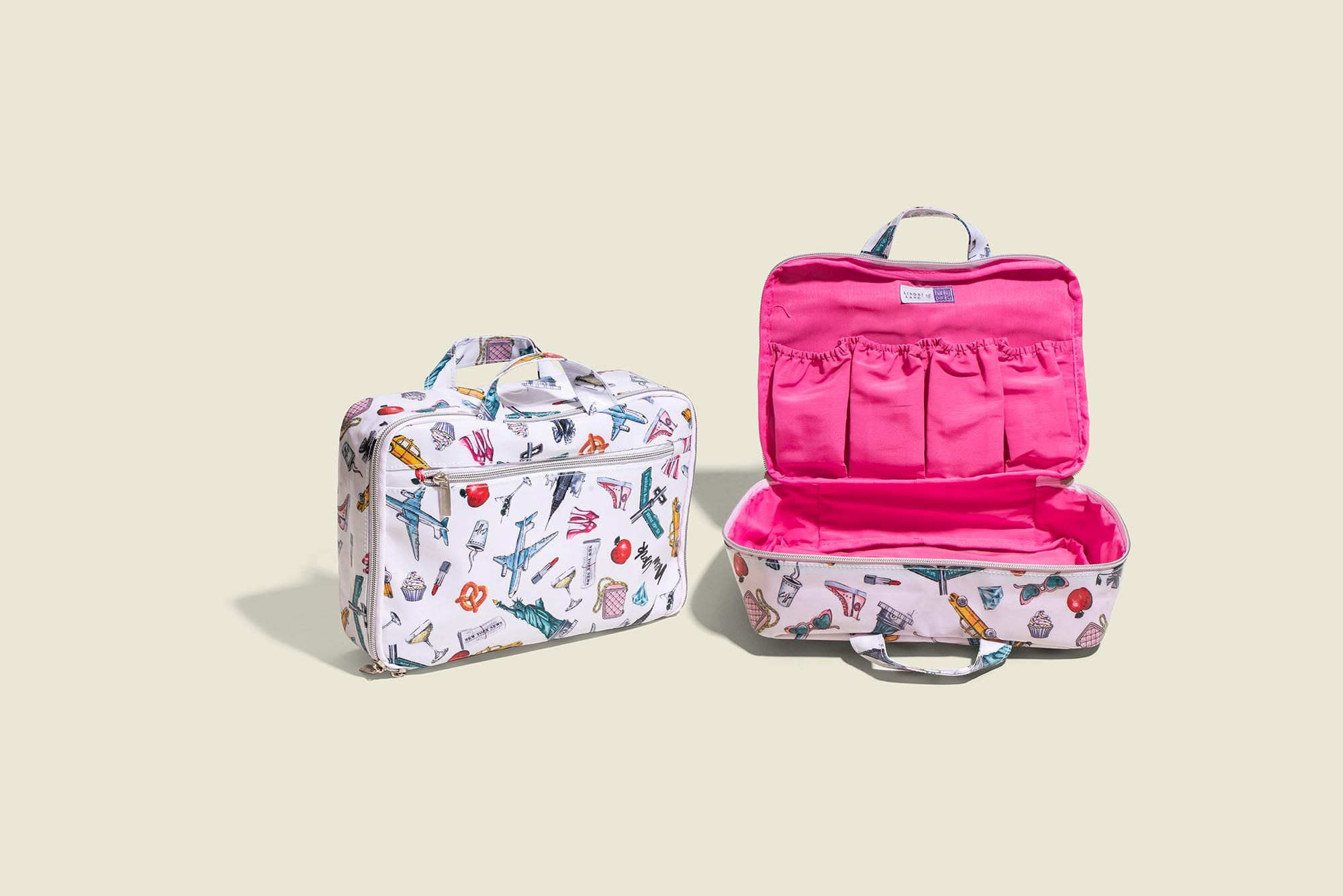 Colorful zip pouches with pockets