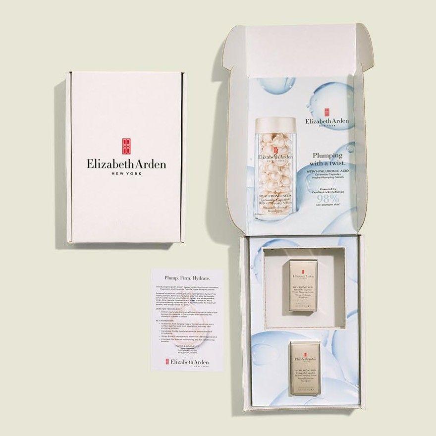 Custom hinge box with beauty products
