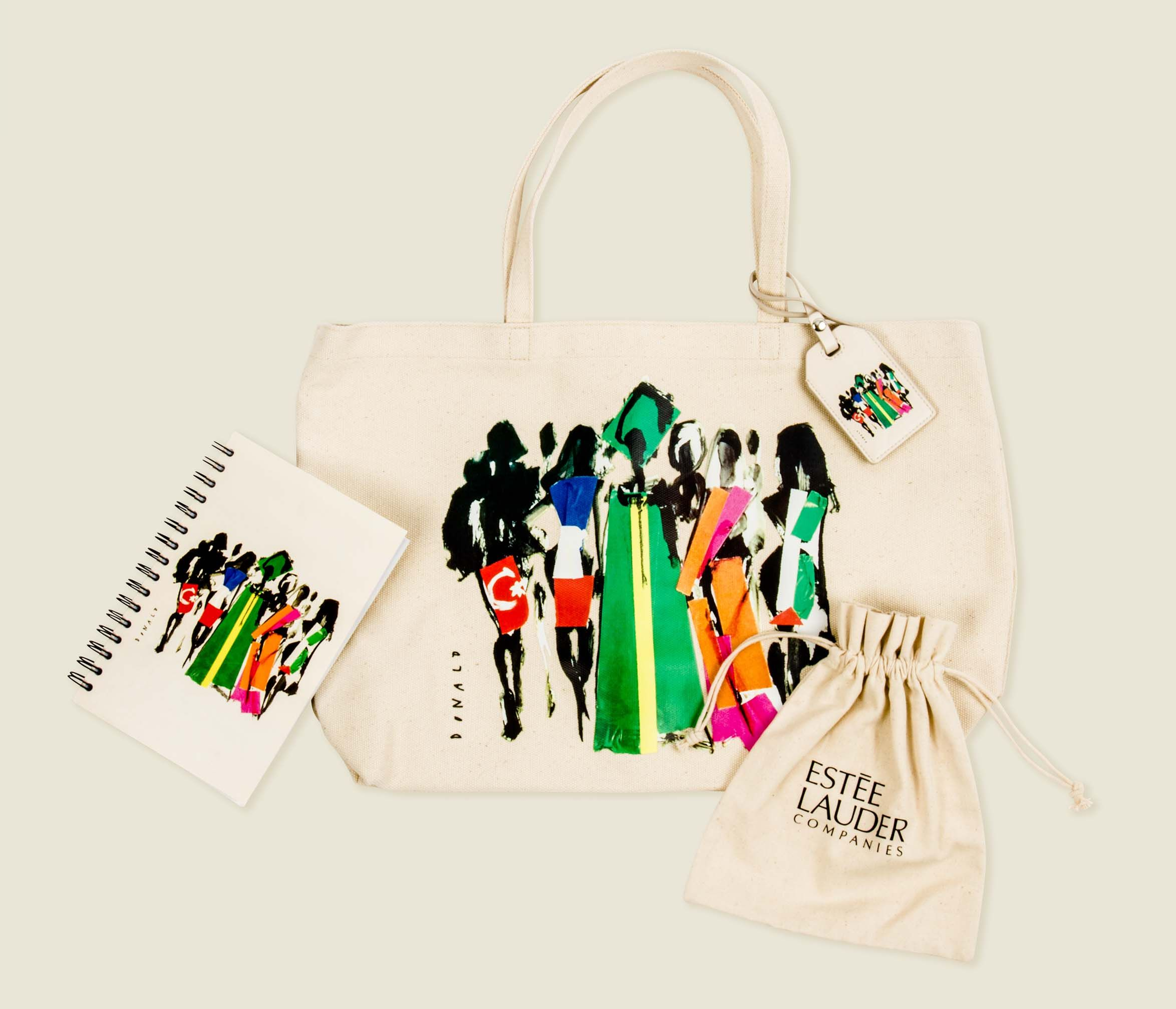 Tote bag with journal and drawstring pouch