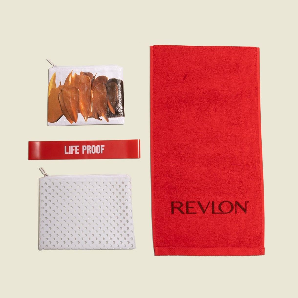 Flat zip pouches with towel and red exercise bands