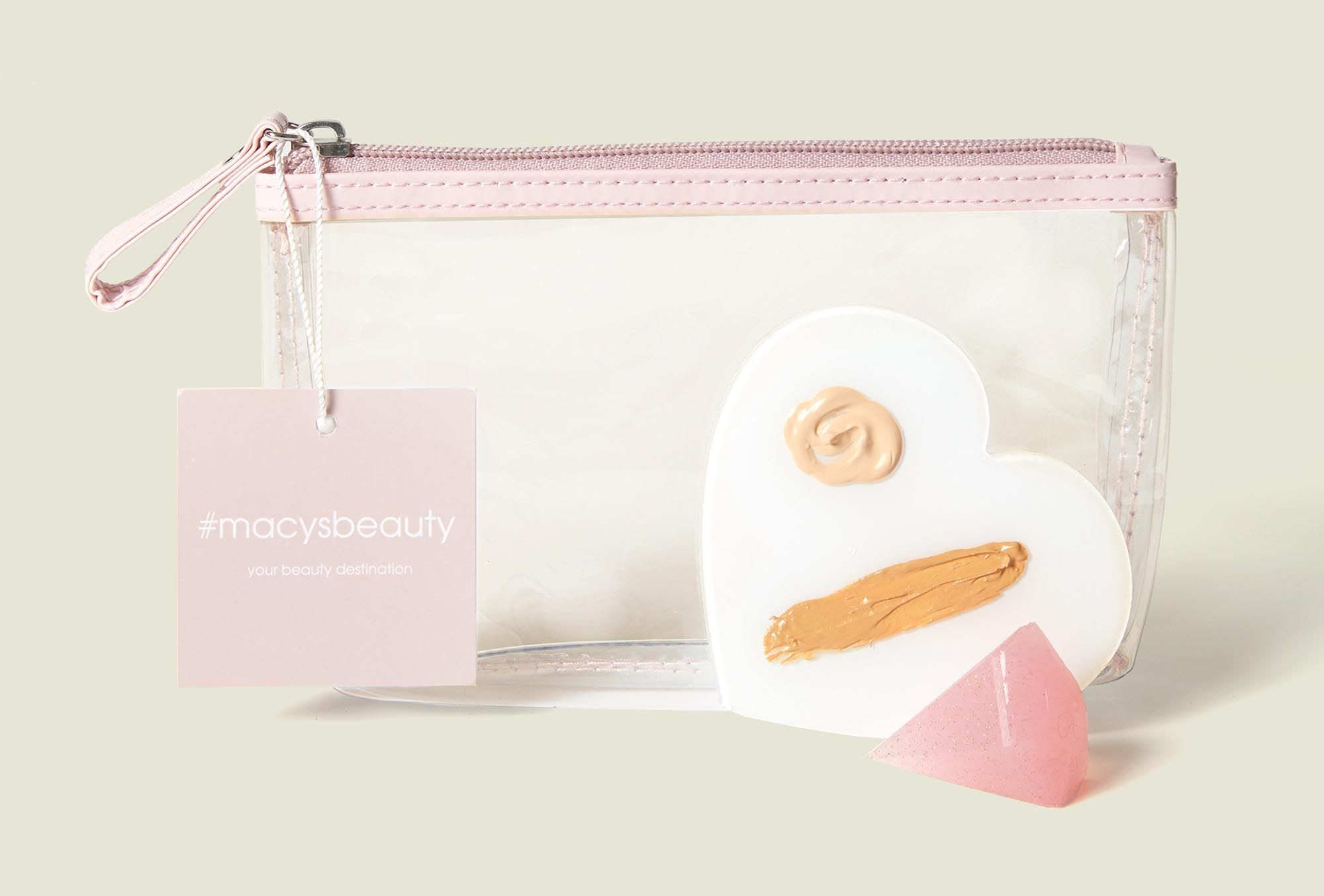 Standing clear zip pouch with crystal and makeup mixing tray