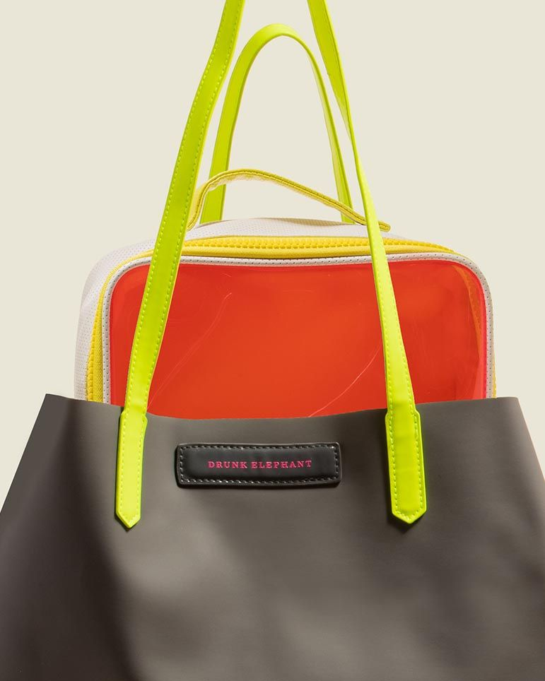 Tote bag with standing zip pouch