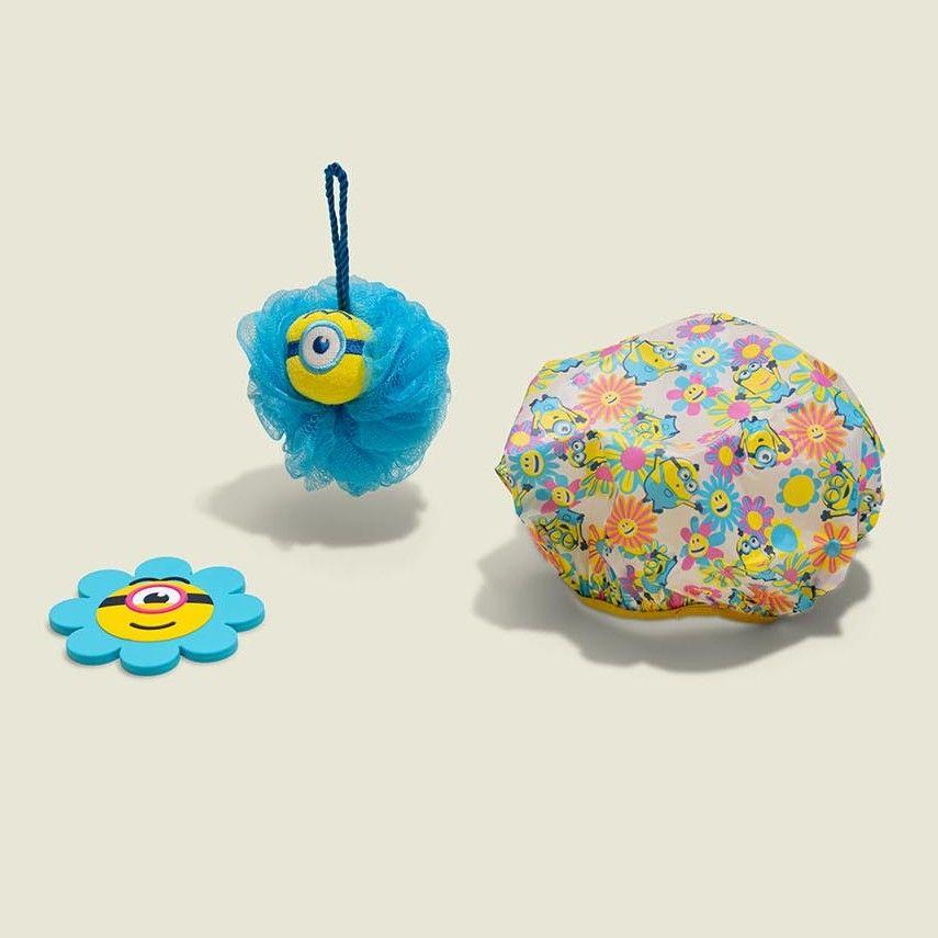 Custom bath sponge with shower cap and pocket mirror