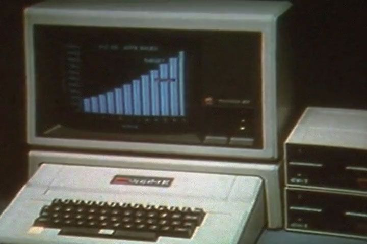 Vintage computer screen with data