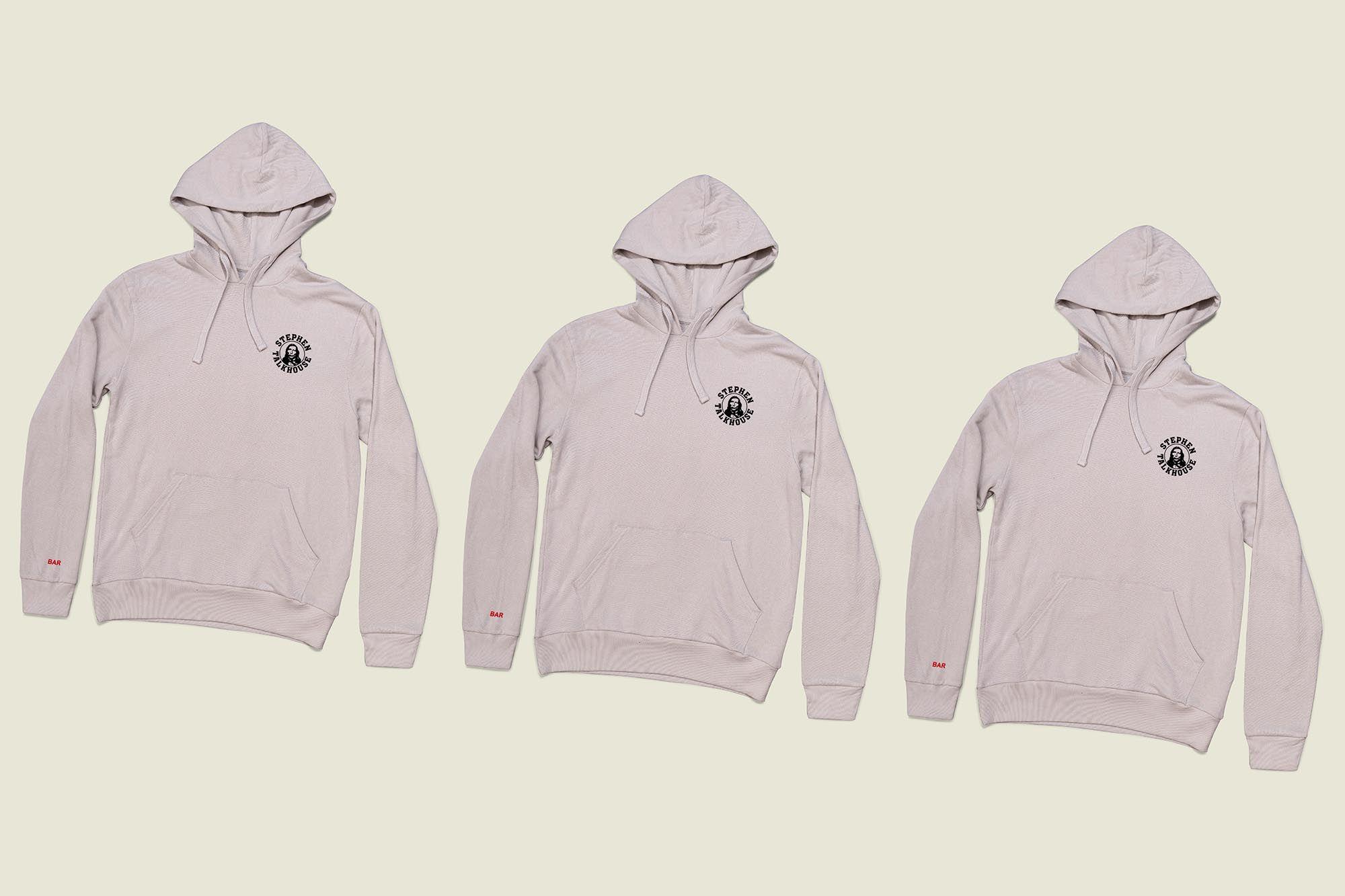 Three pullover hoodies