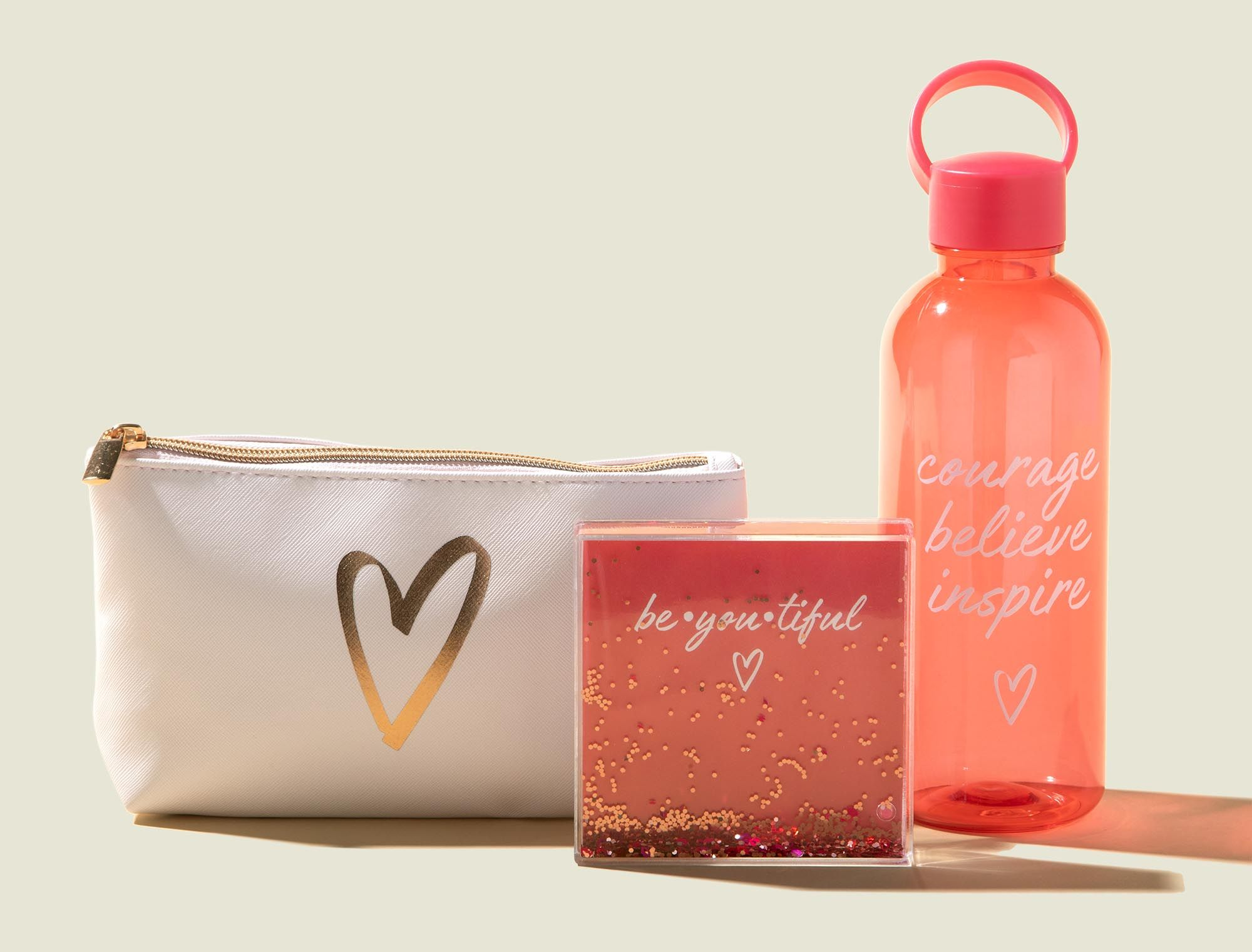 Standing zip pouch with water bottle and liquid glitter picture frame
