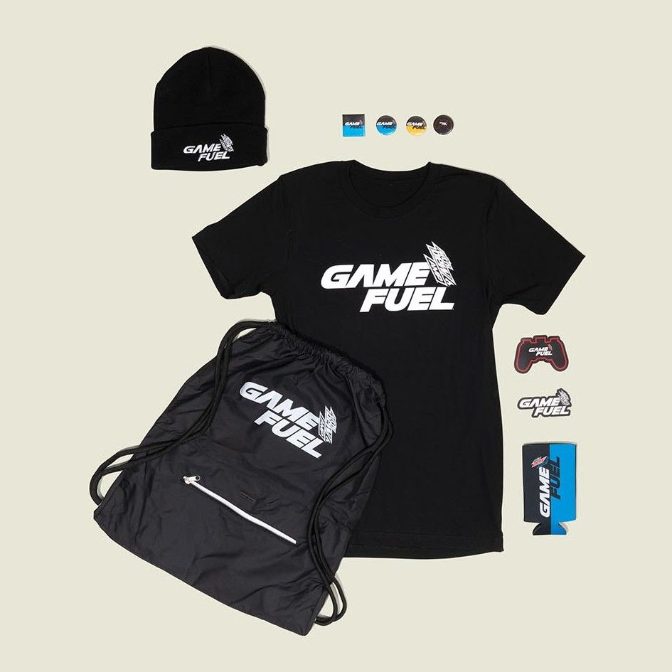 Drawstring bag with t-shirt, beanie, stickers and pin buttons