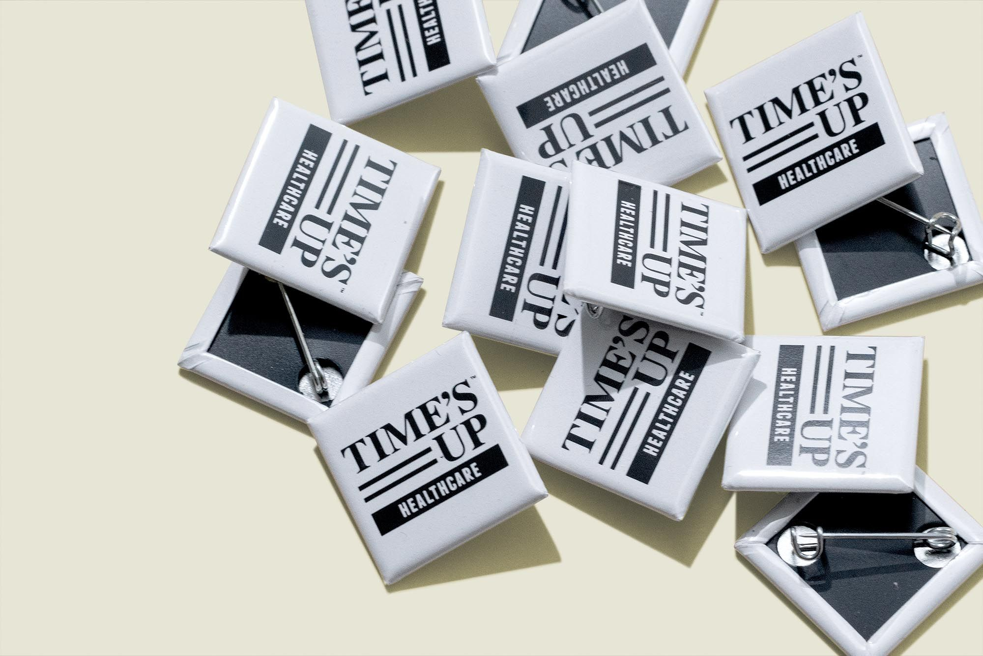 Square pin buttons