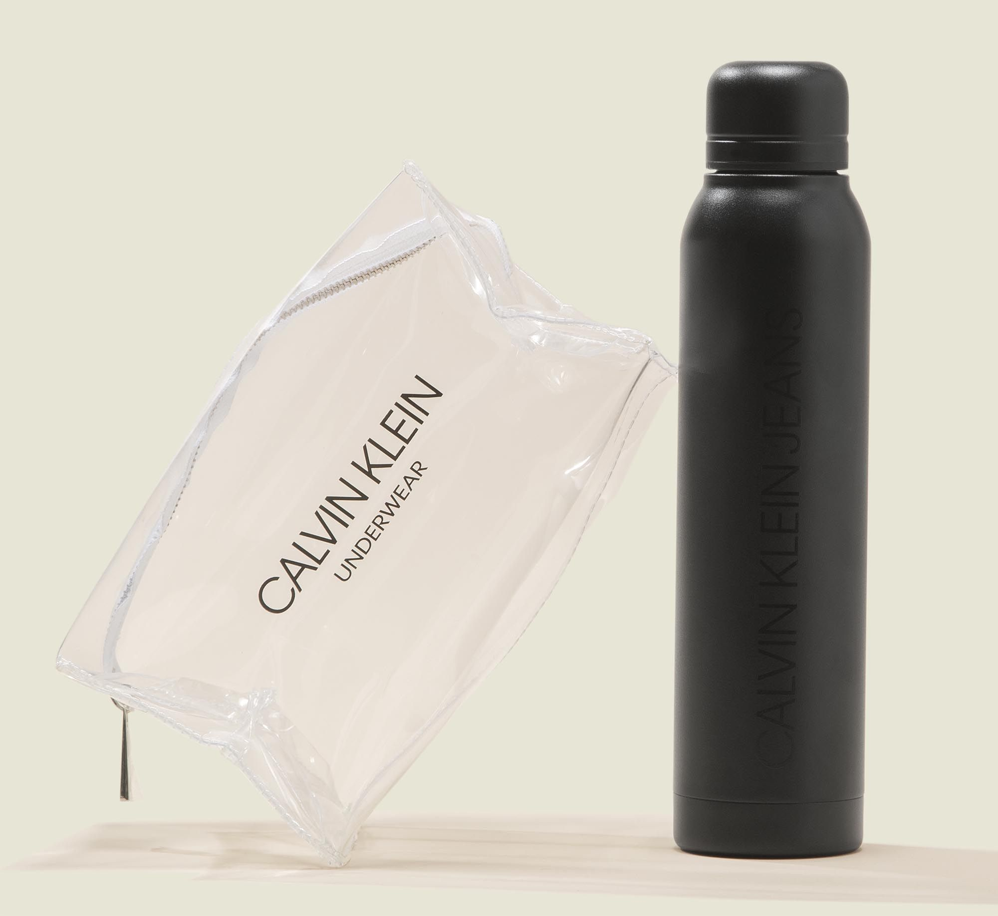 Clear zip bag with water bottle