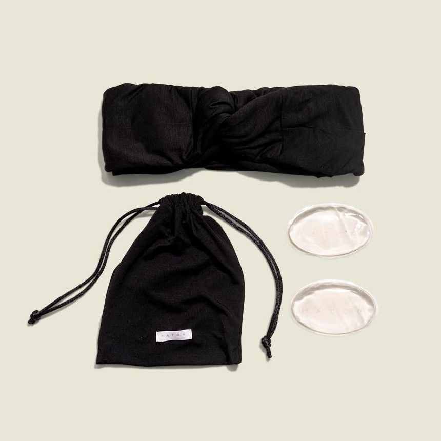 Drawstring pouch with headband and makeup pads