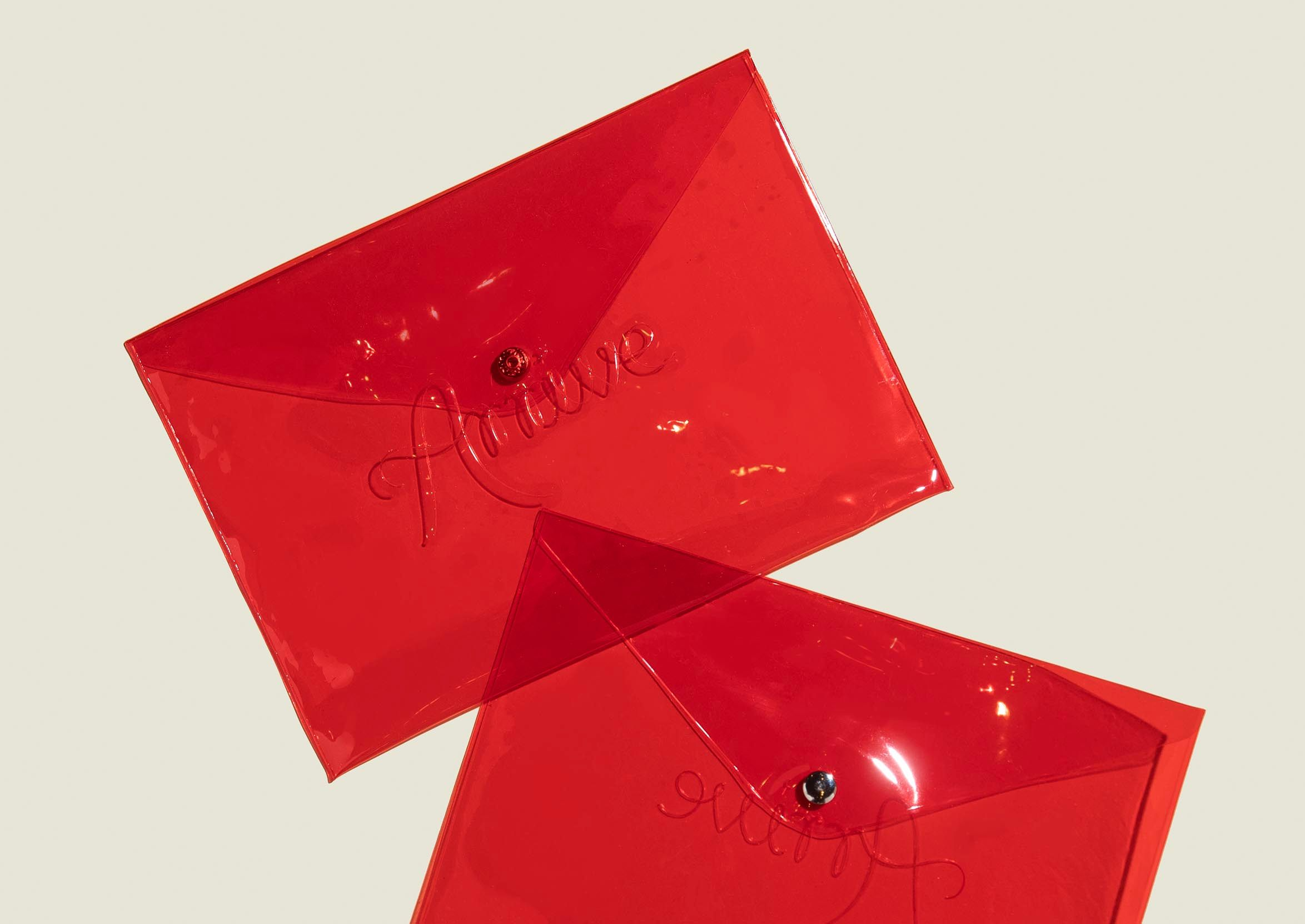 Red see through pouch