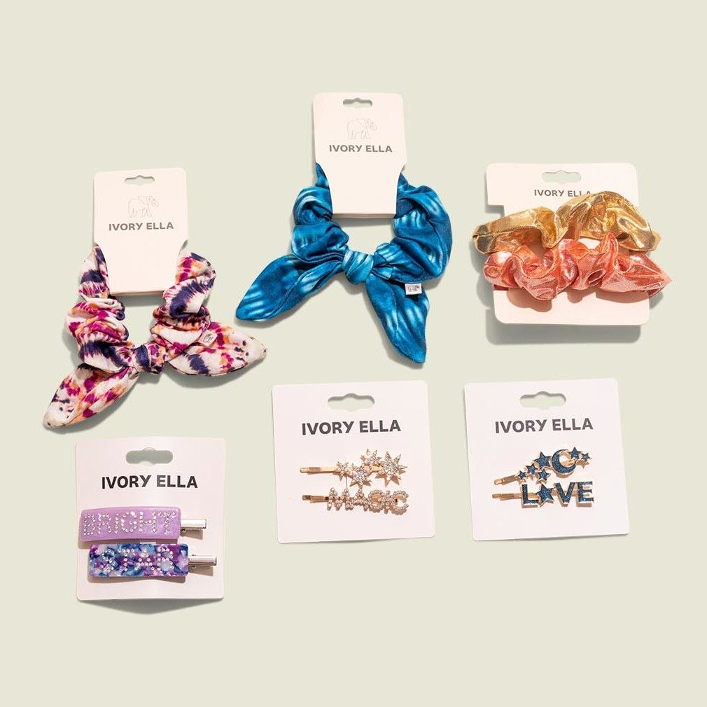 Custom packaging with hair clips and scrunchies