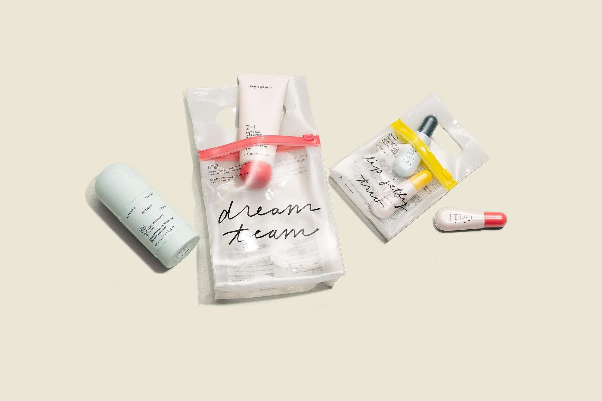Beauty products with ziplock bags
