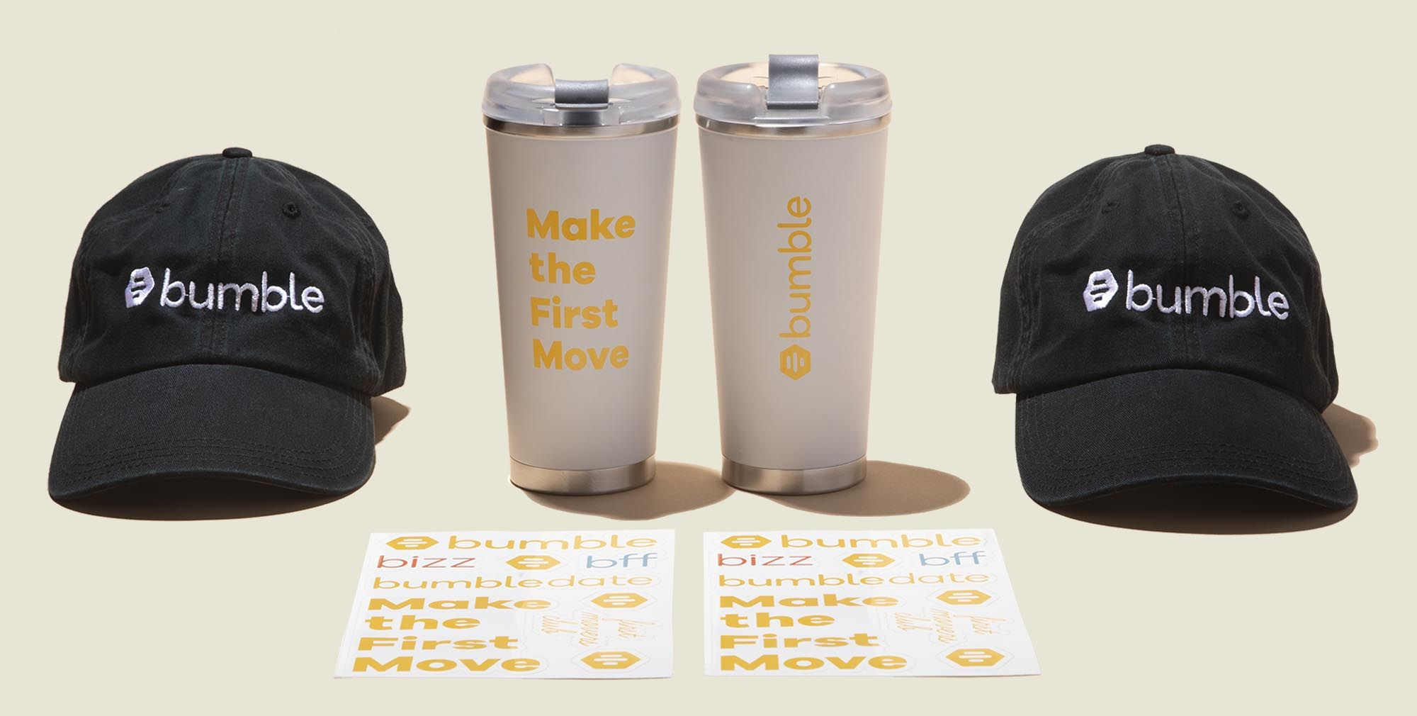 Water/coffee tumbler with hats and stickers