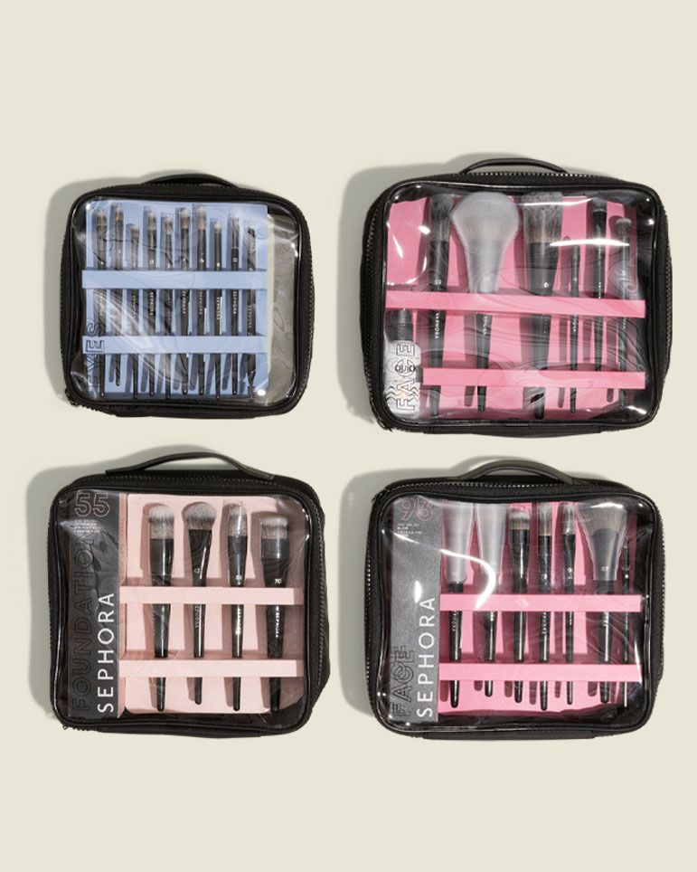 Flat zip pouches with beauty tools