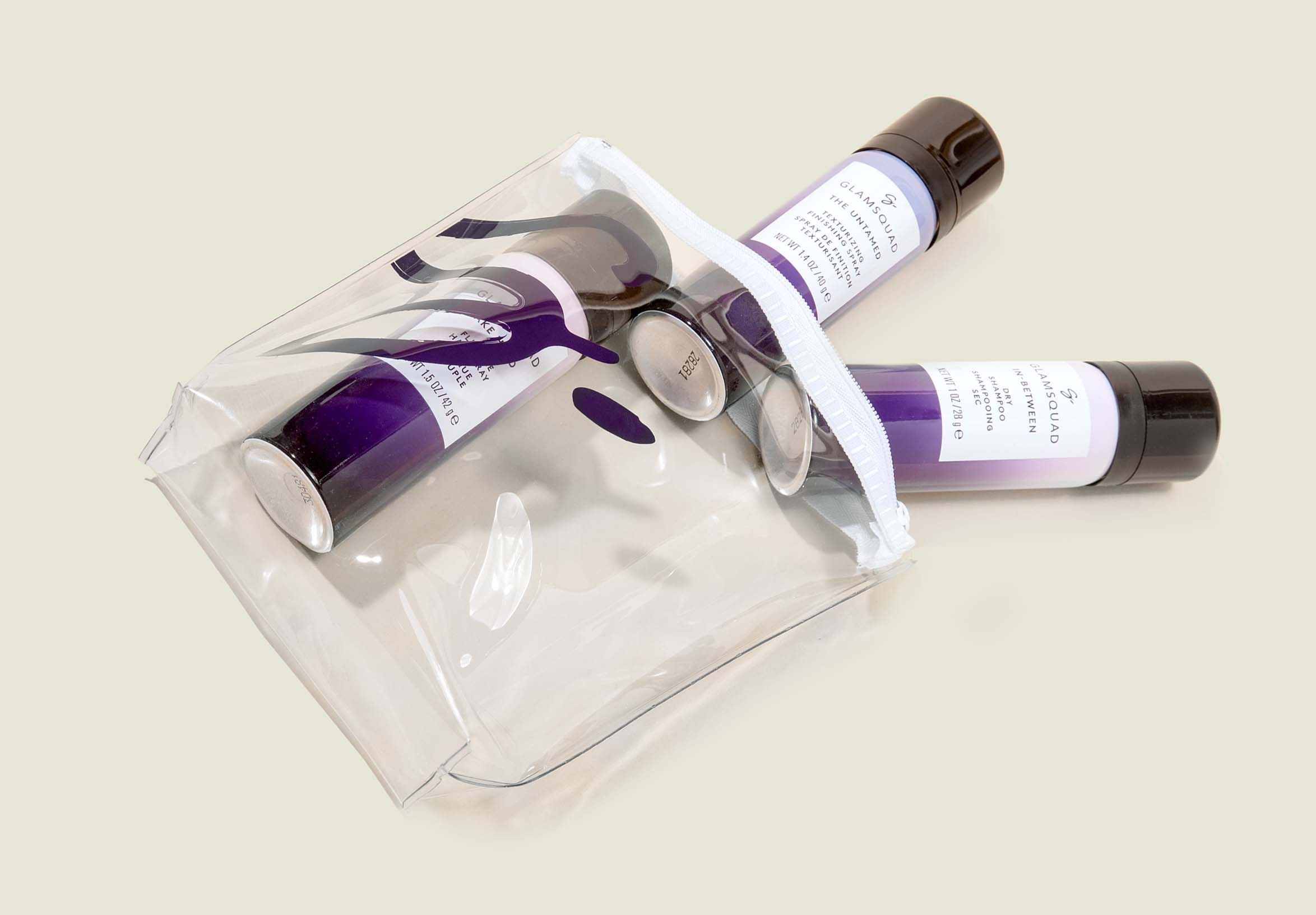 Clear zip pouch with hair products