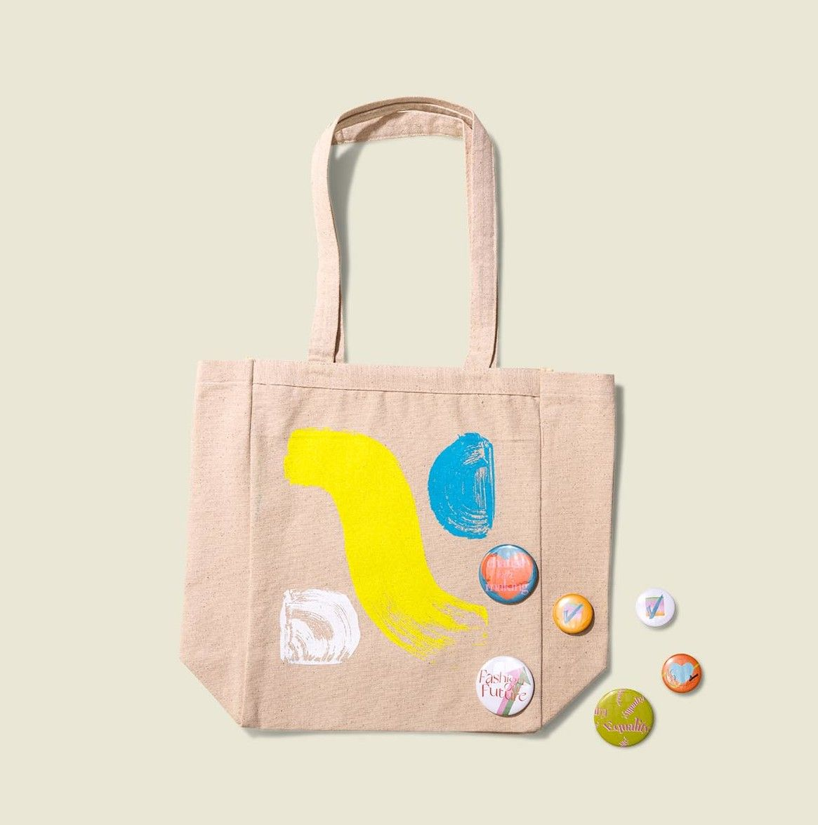 Tote bags with pin buttons