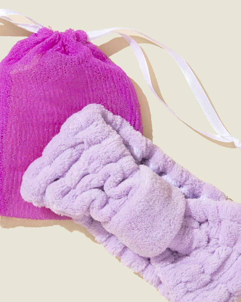Drawstring pouch with headband