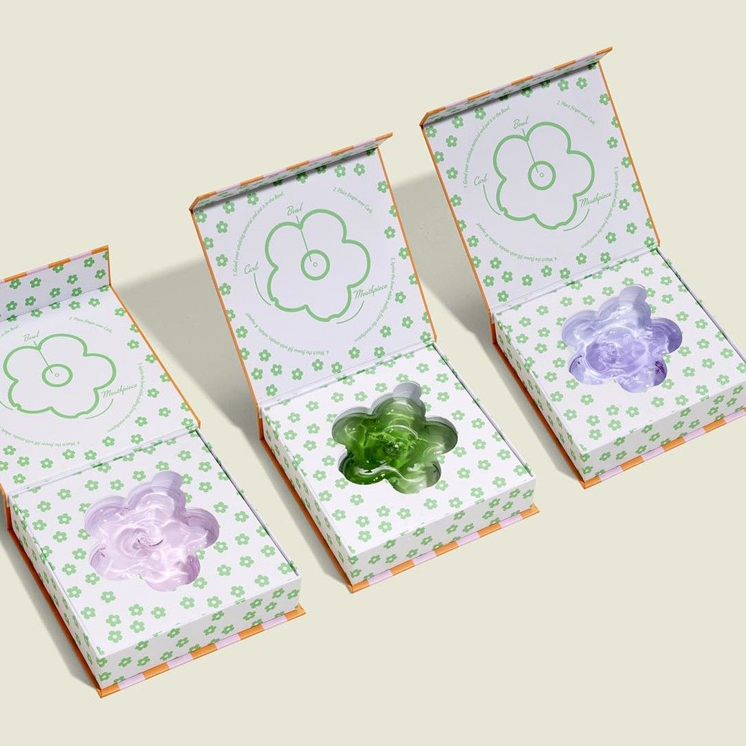Glass flower shaped- piped with custom packaging