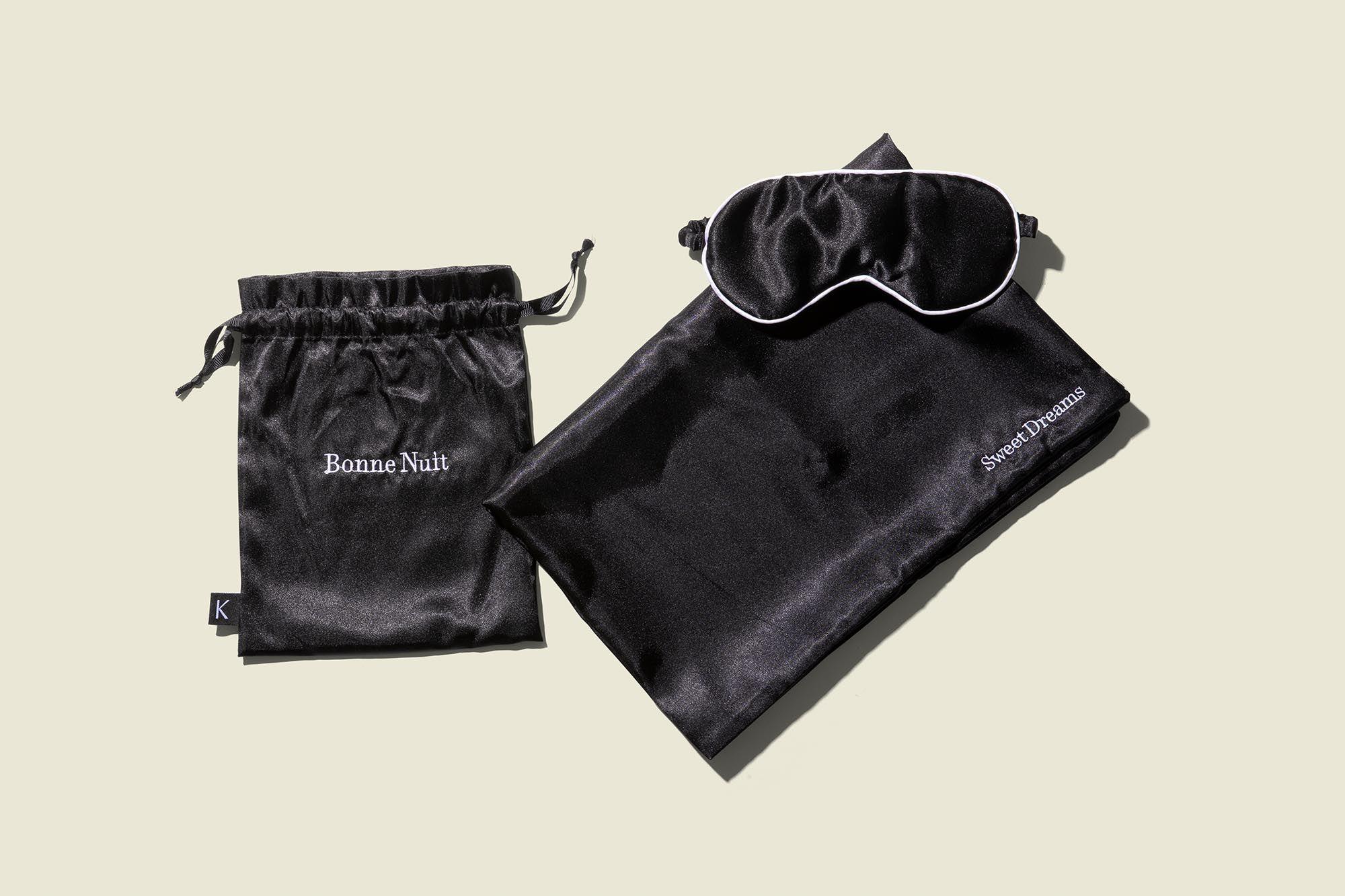 Drawstring bag with sleep mask