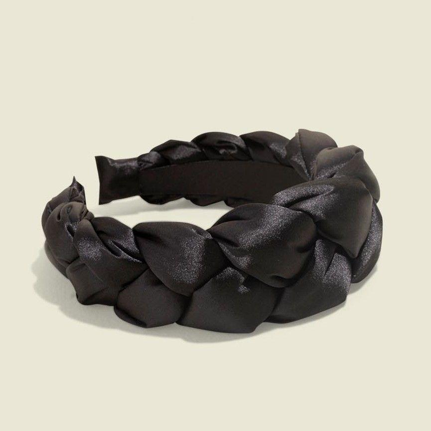 Braided black satin headband