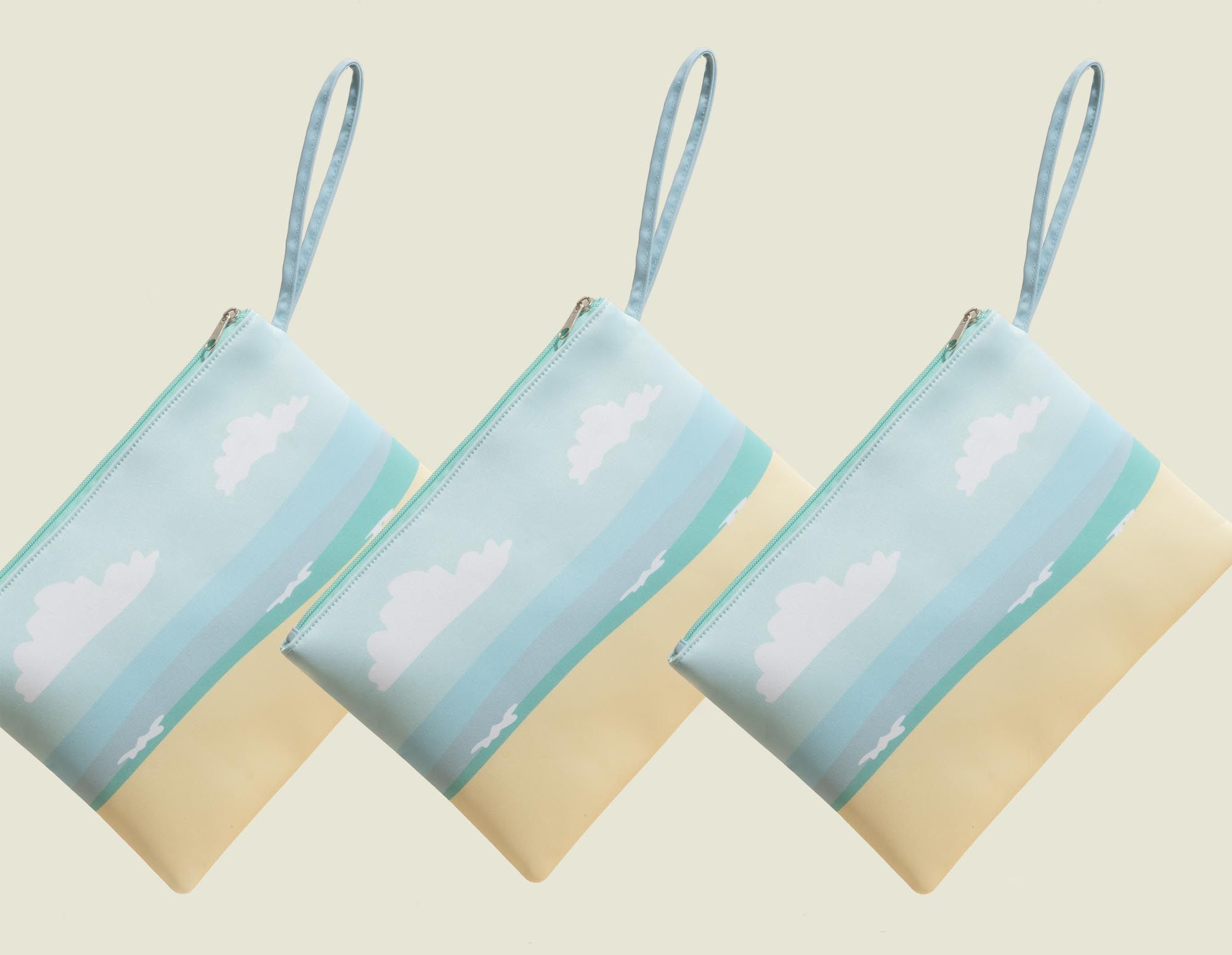 Zip pouches with strap