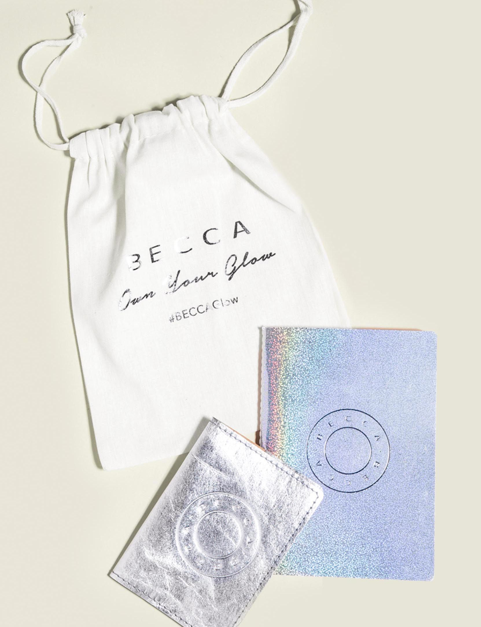 Drawstring pouch with journal and wallet
