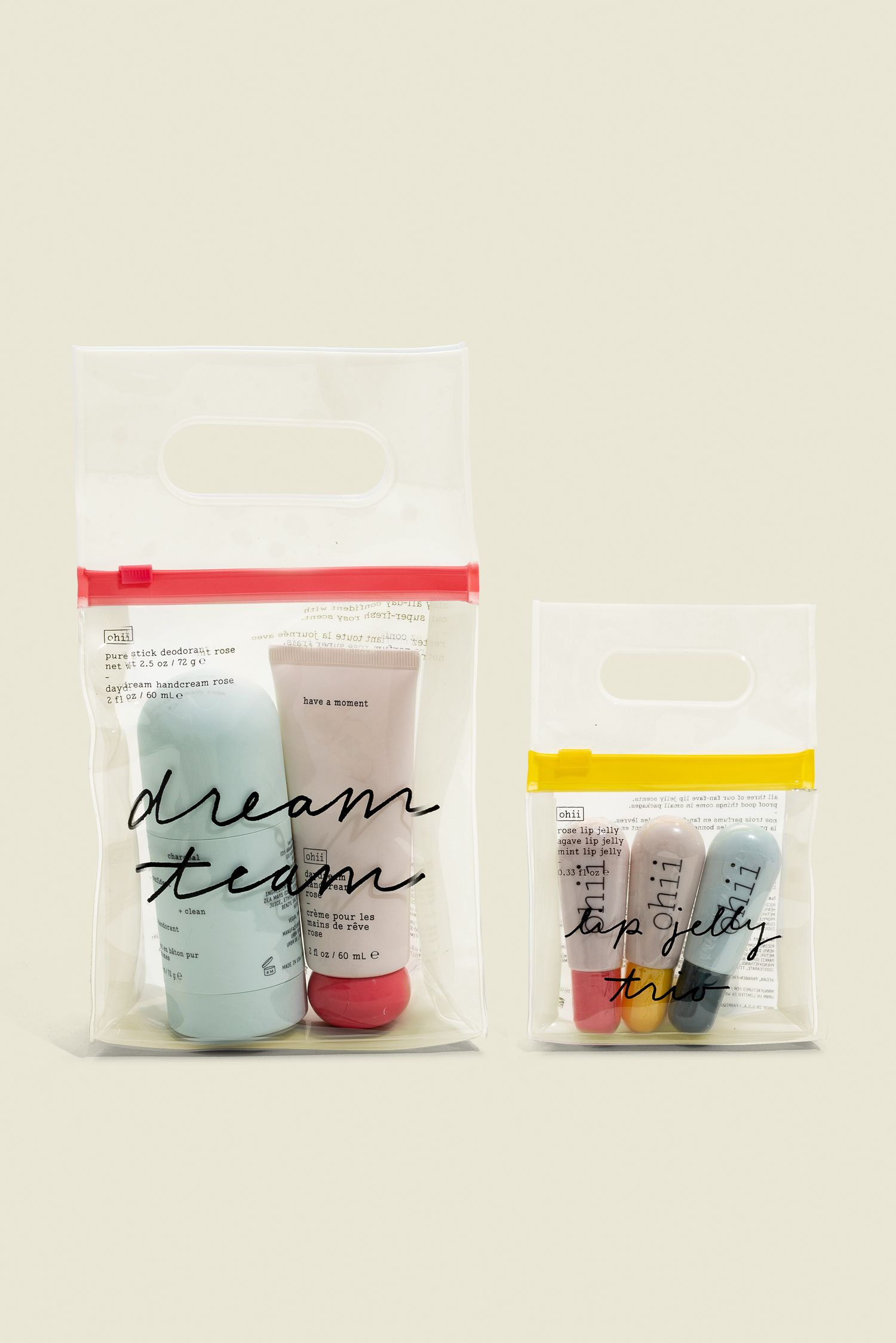 Beauty products packaged in ziplock bag
