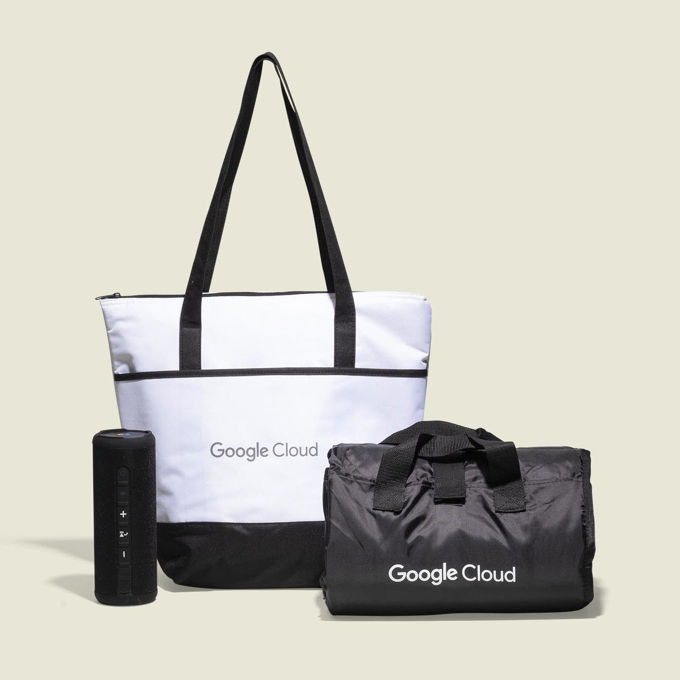 Tote and duffle bag with portable speaker