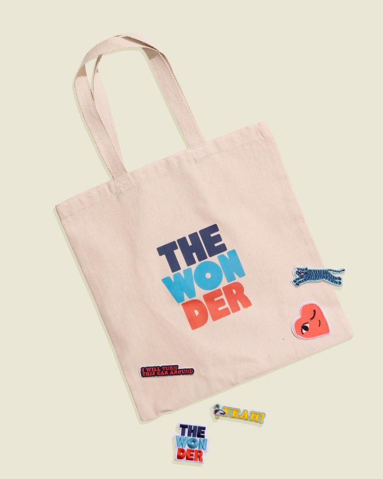 Tote bag with stickers