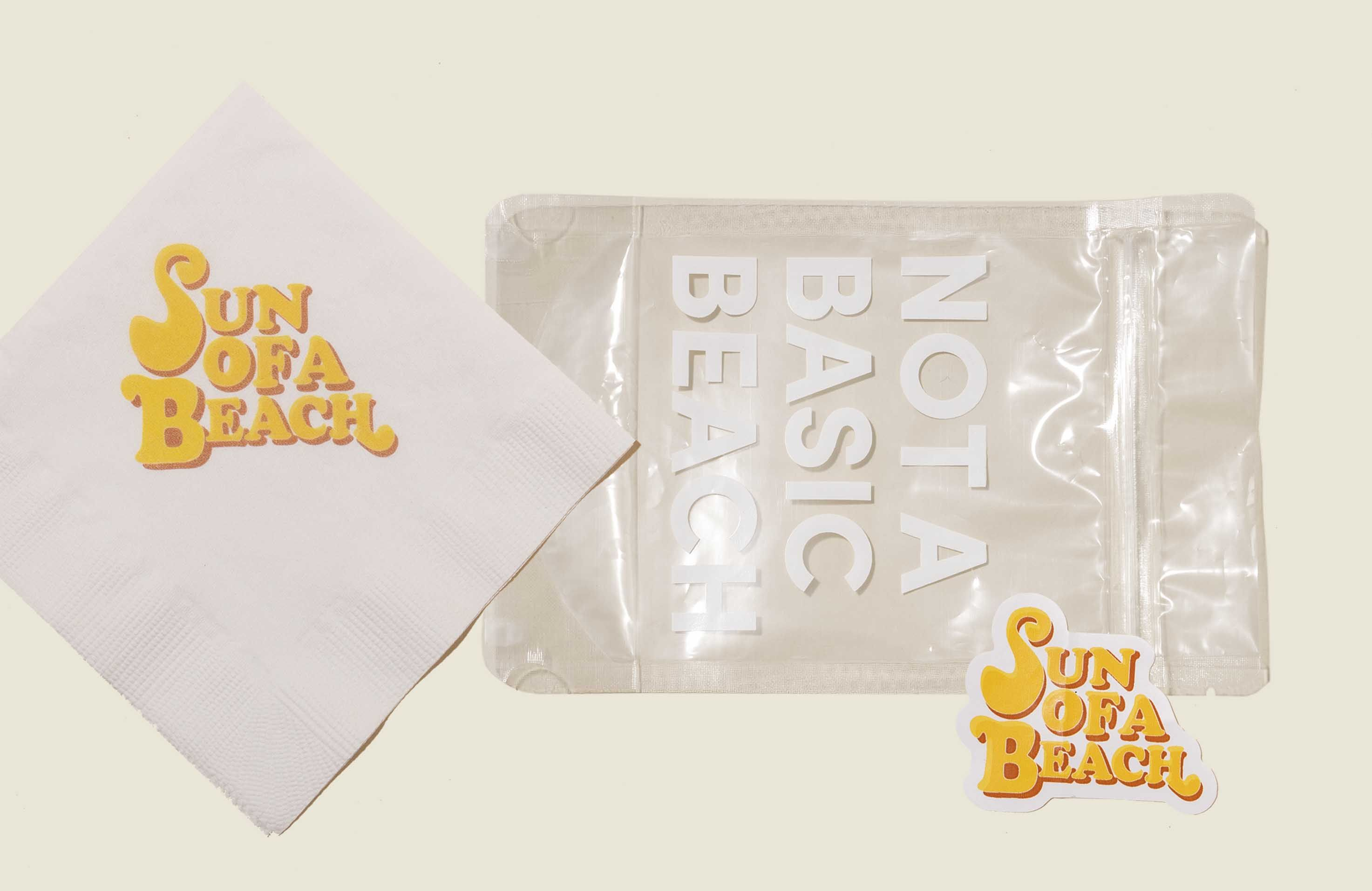Clear ziplock bag with napkin and sticker