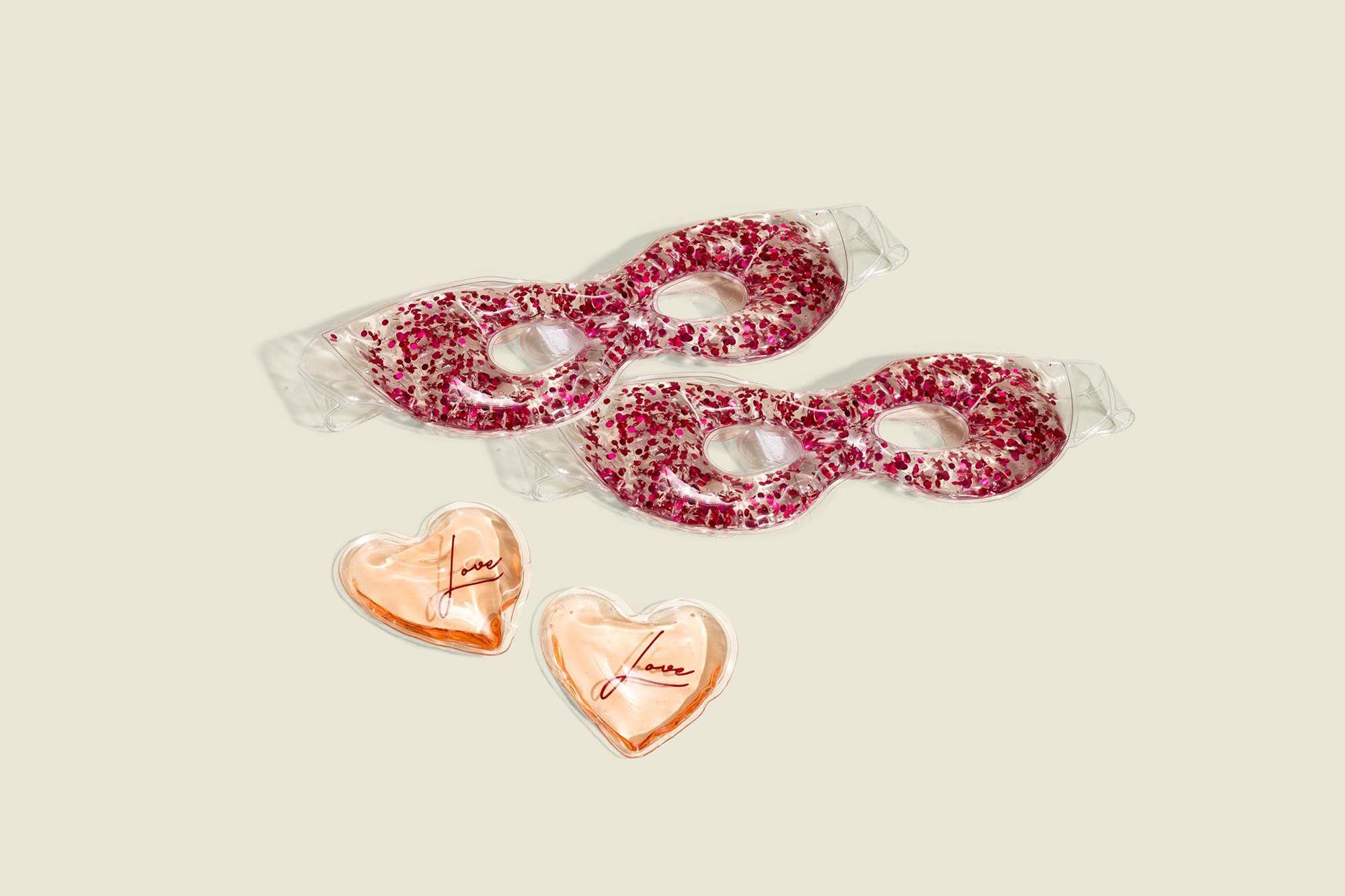 Flitter eye masks with heart shaped masks