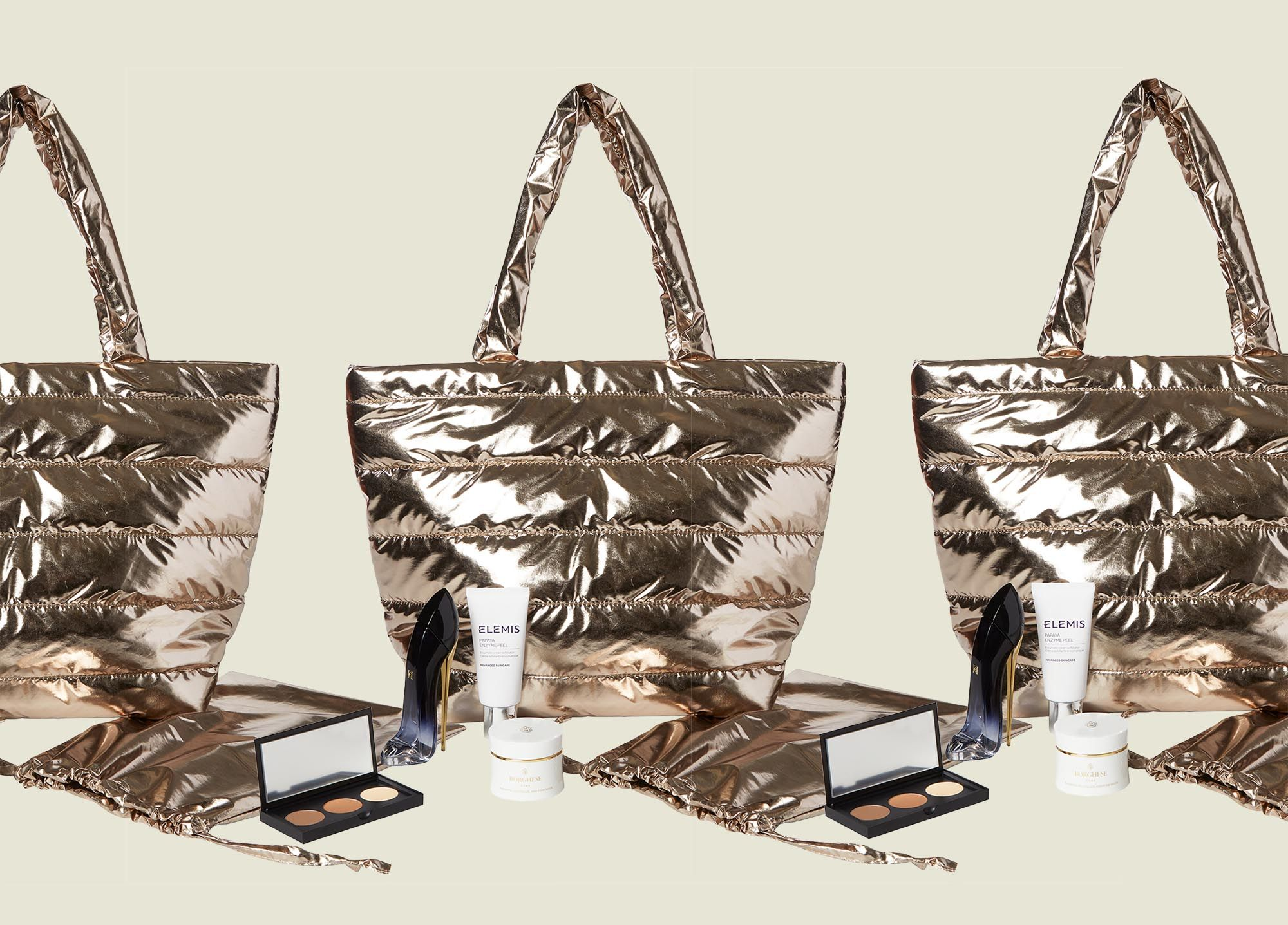 Tote bag with flat zip pouch and beauty products