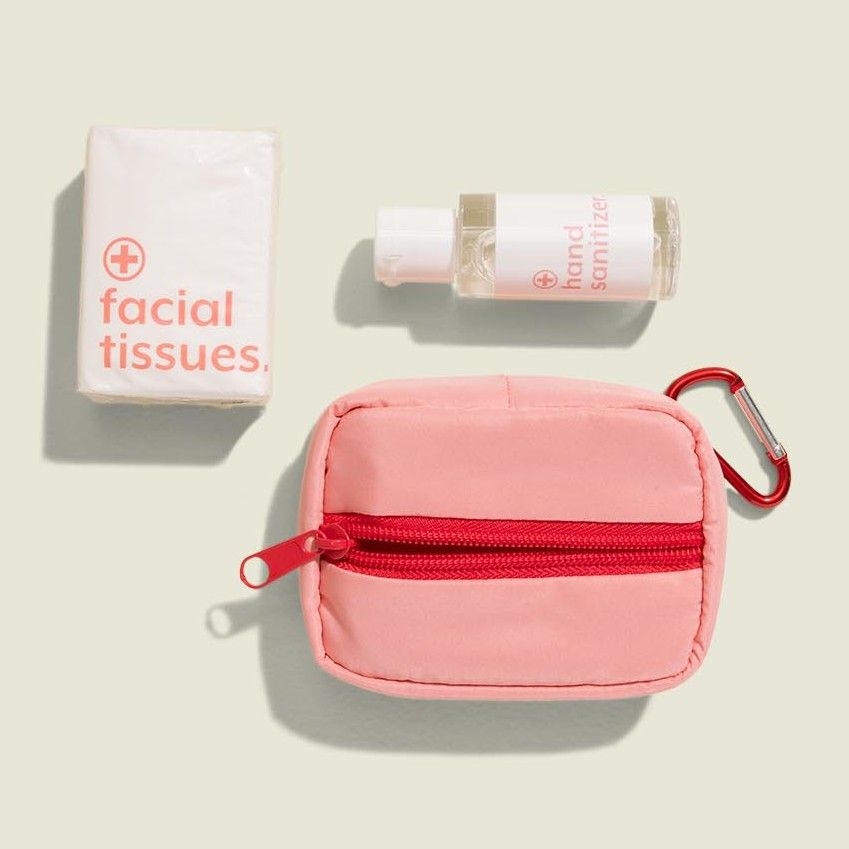 Standing zip pouch with hand sanitizer and face tissues