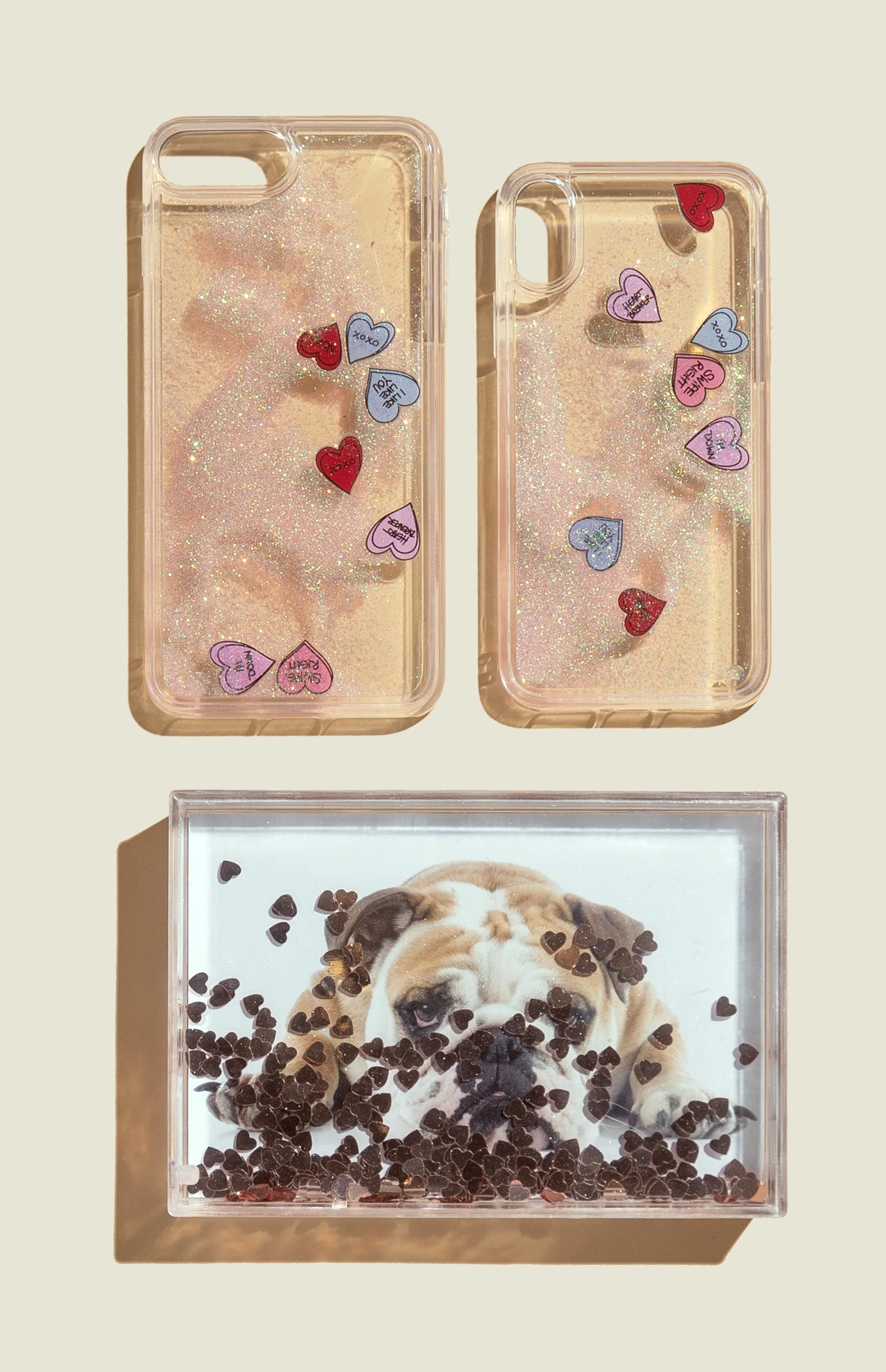 Phone cases with glitter liquid picture frame