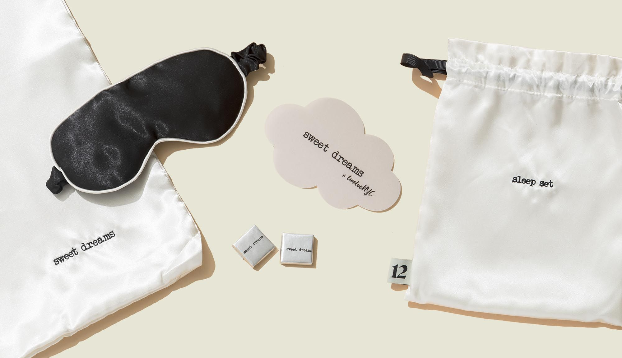 Drawstring pouch with sleep mask