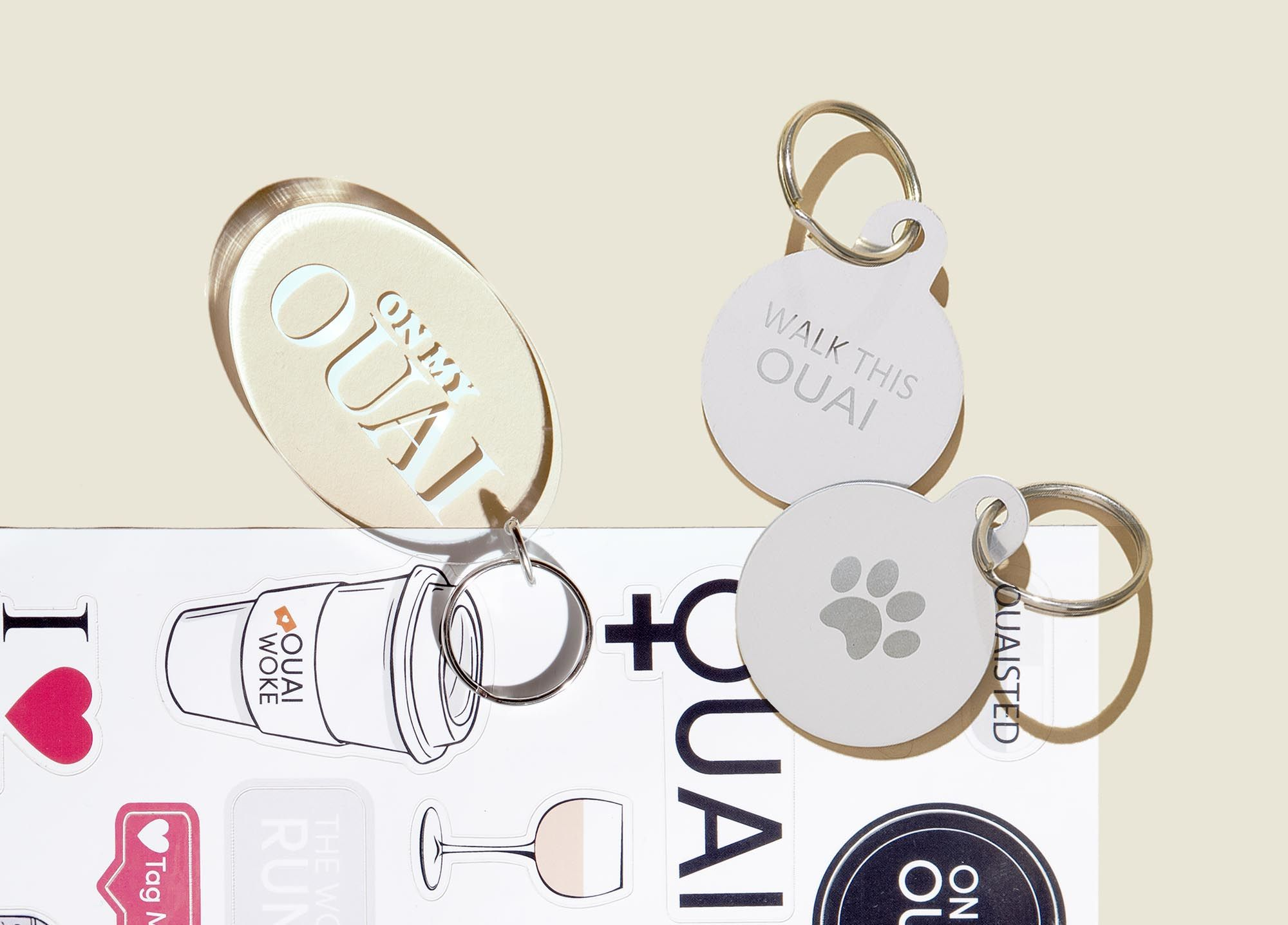 Set of keychains with stickers