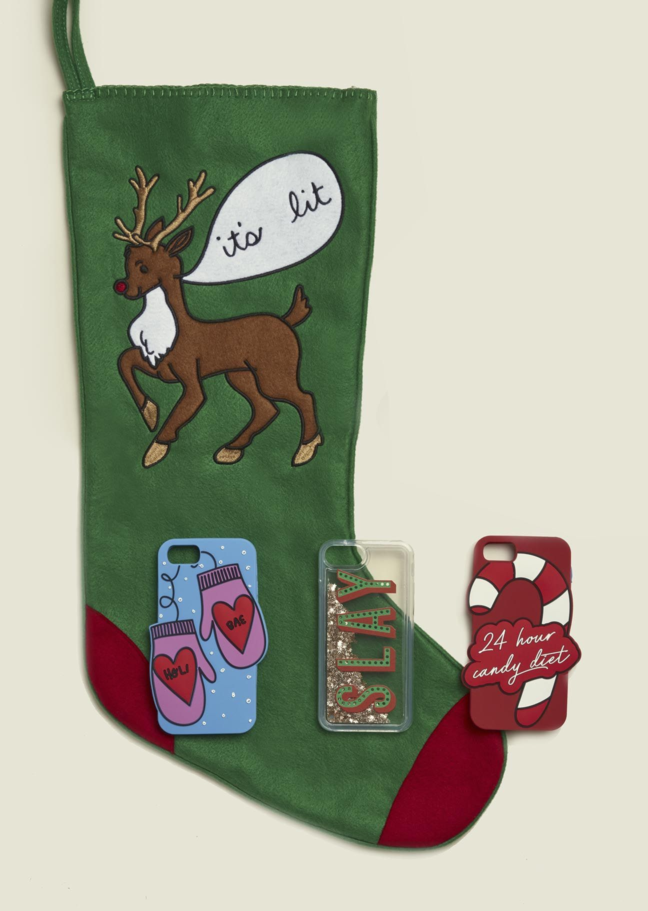 Phone cases with Christmas stocking