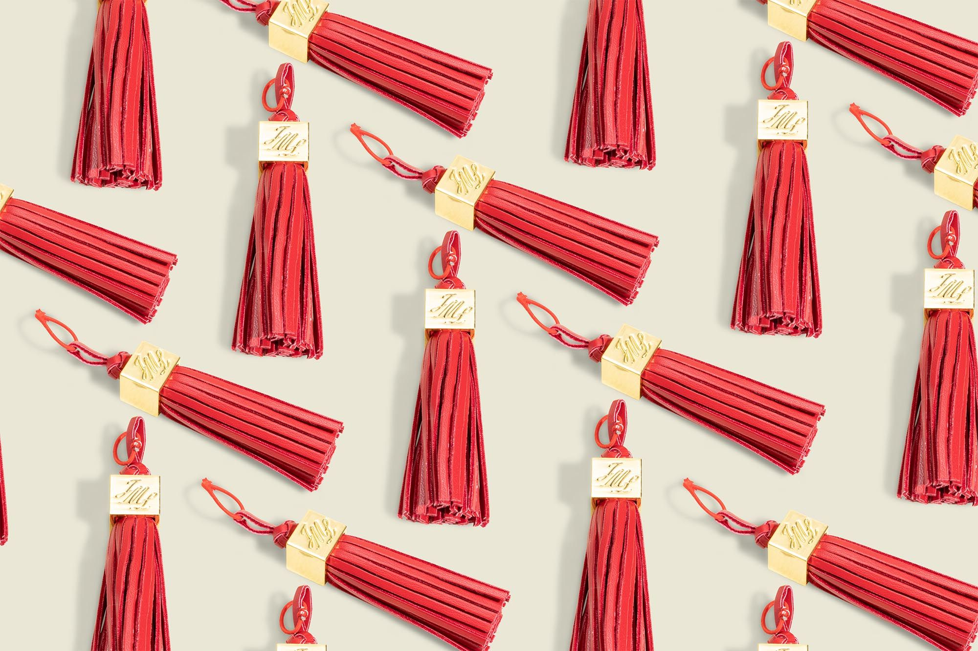 Red tassle with metal details