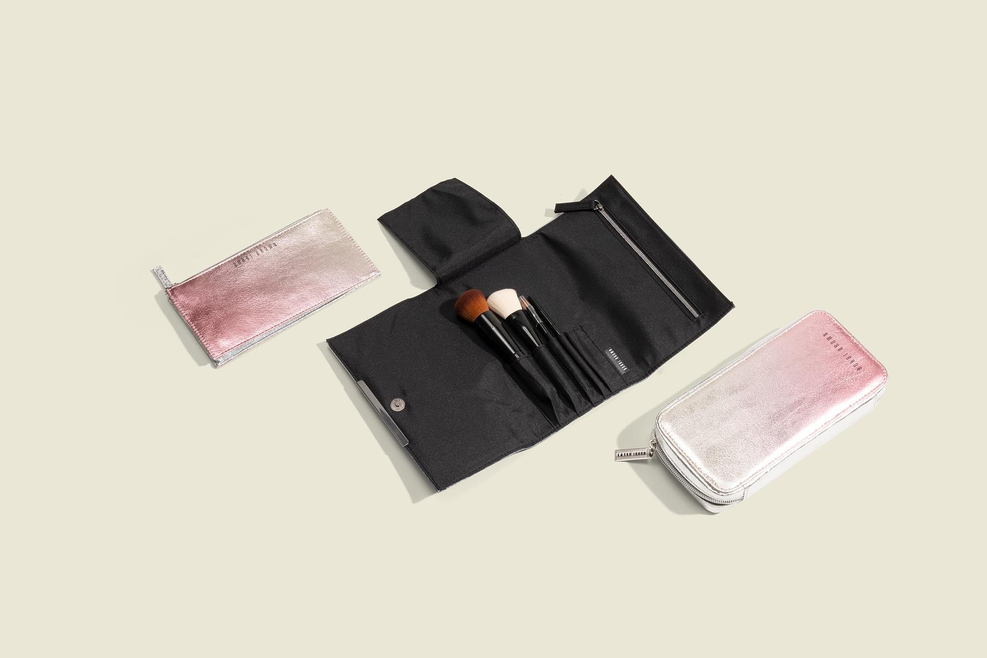Flat zip pouches with makeup kit