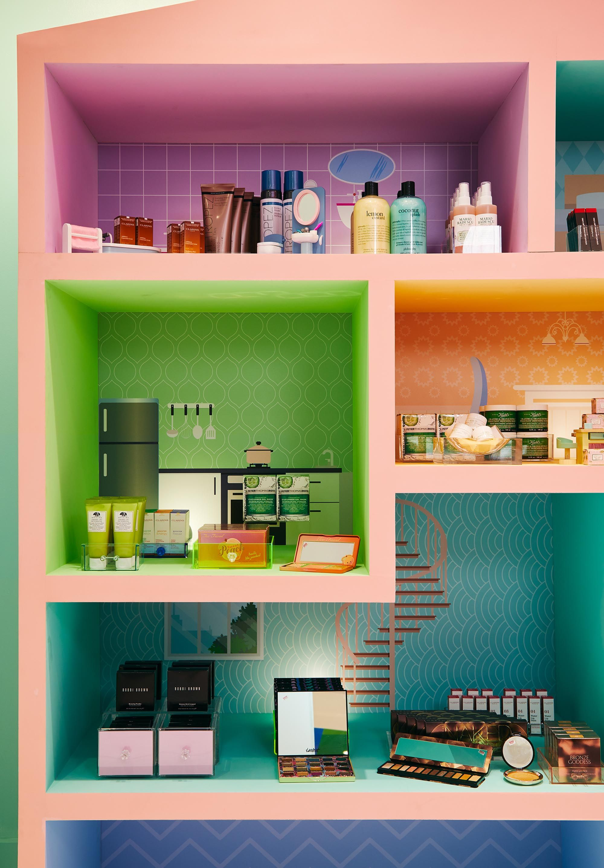 Custom shelving styled with products and accessories